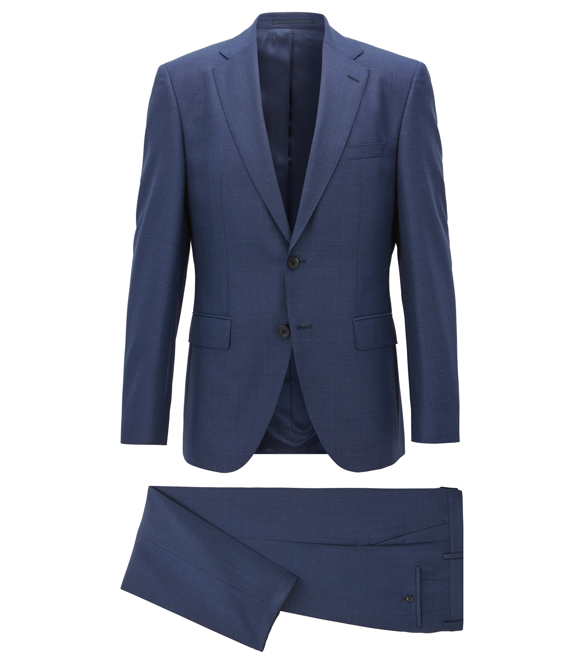 Regular-fit suit in melange virgin wool, Dark Blue