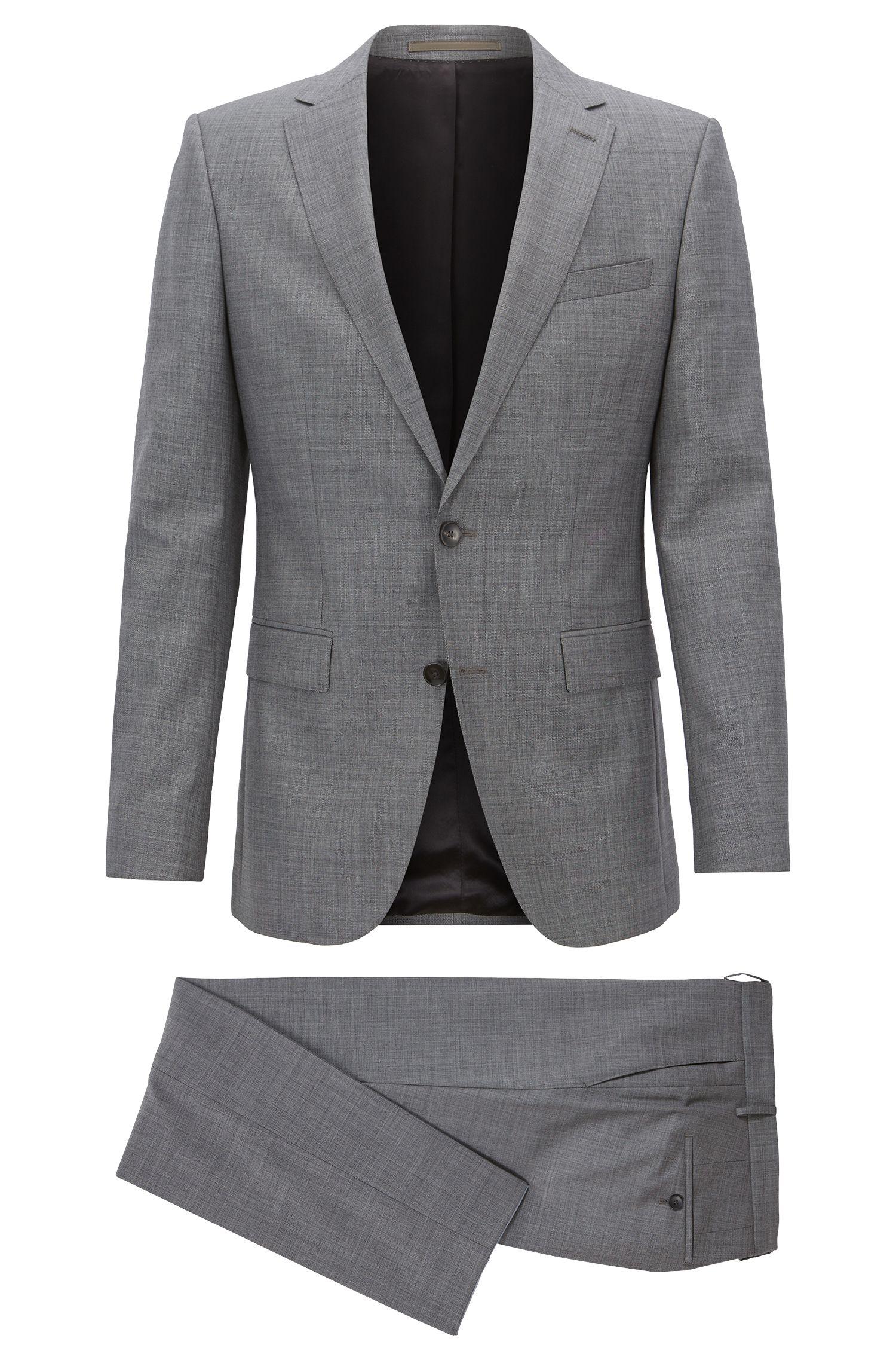 Slim-Fit Anzug aus Schurwolle mit AMF-Nähten , Grau