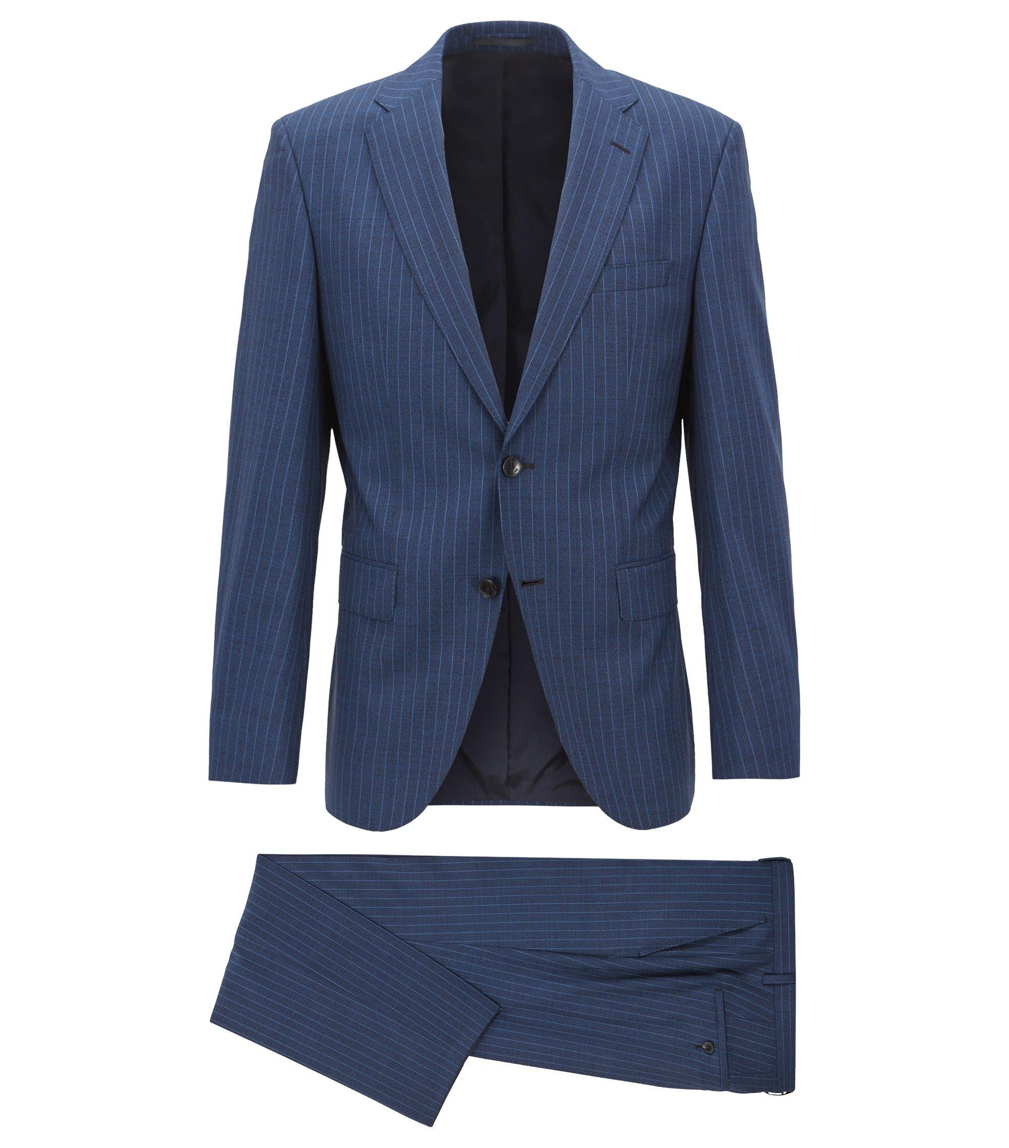 Costume Regular Fit en laine vierge italienne à rayures tennis, Bleu