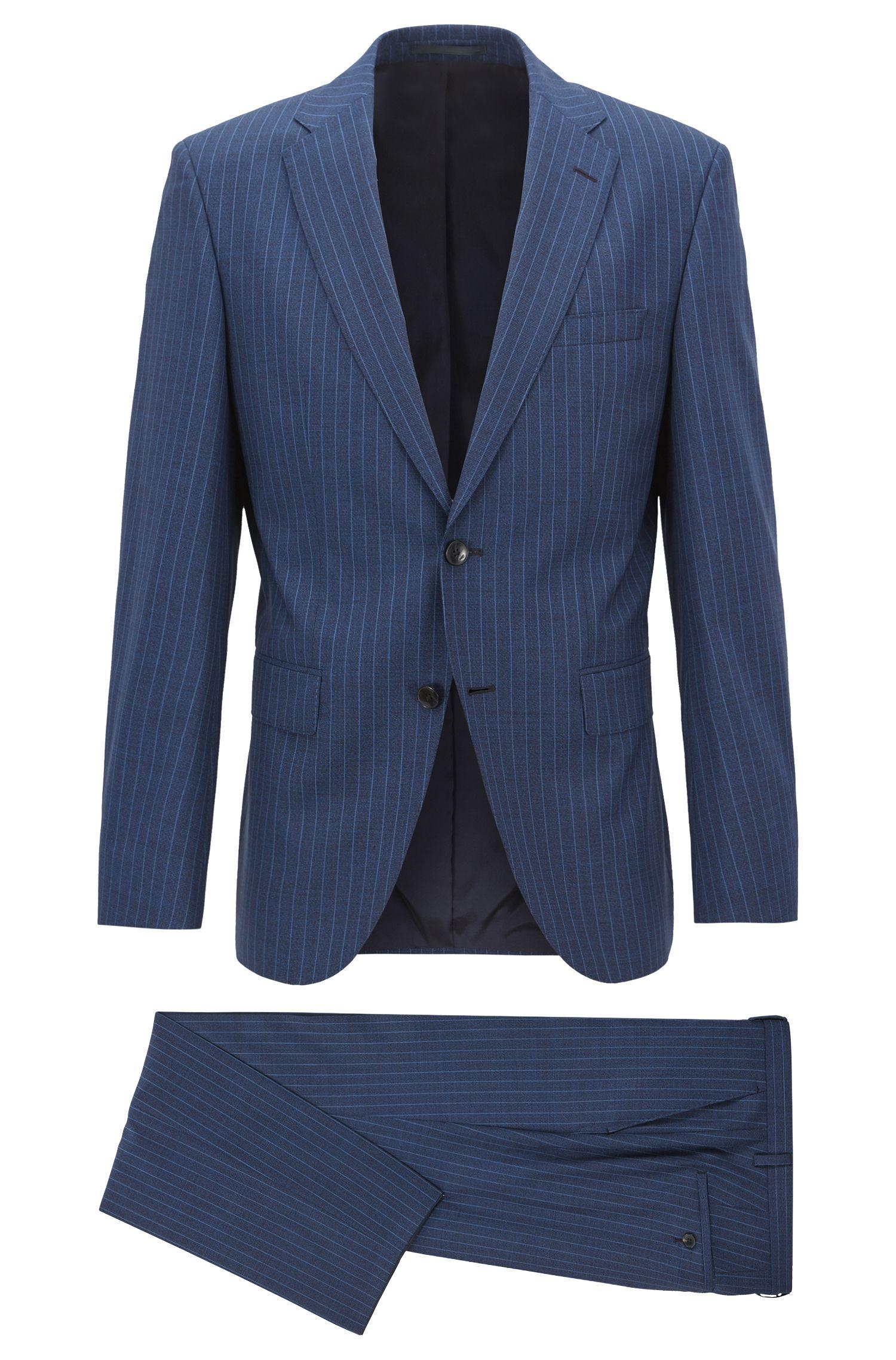 Regular-Fit Anzug aus italienischer Schurwolle mit Nadelstreifen, Blau