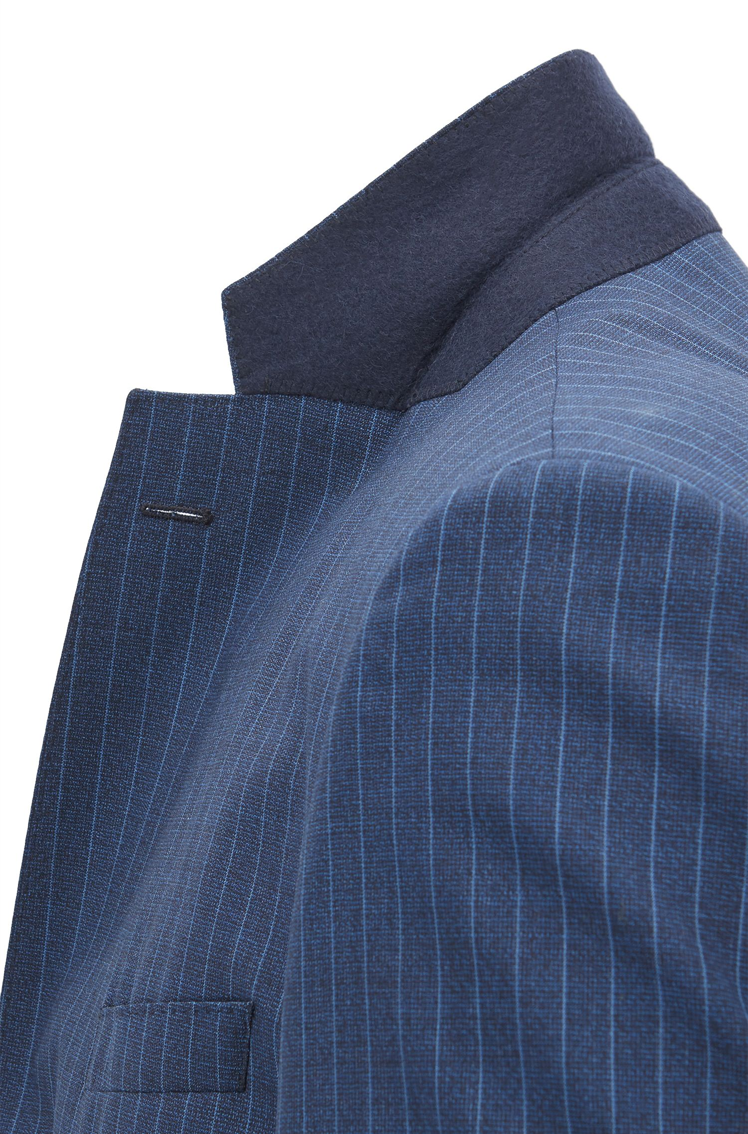 Regular-fit pinstripe suit in Italian virgin wool, Blue