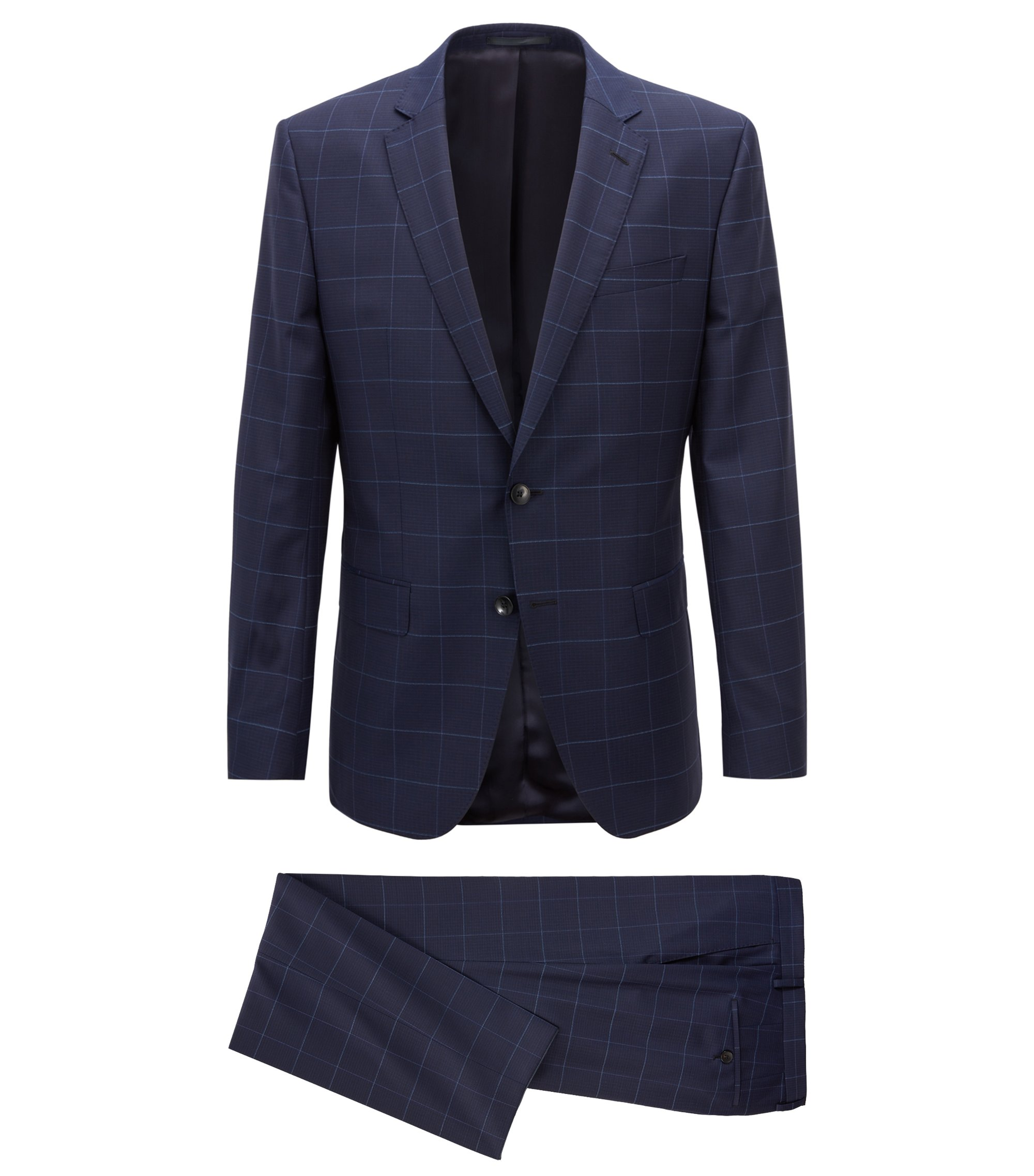 Slim-fit suit in plain-check virgin wool, Dark Blue