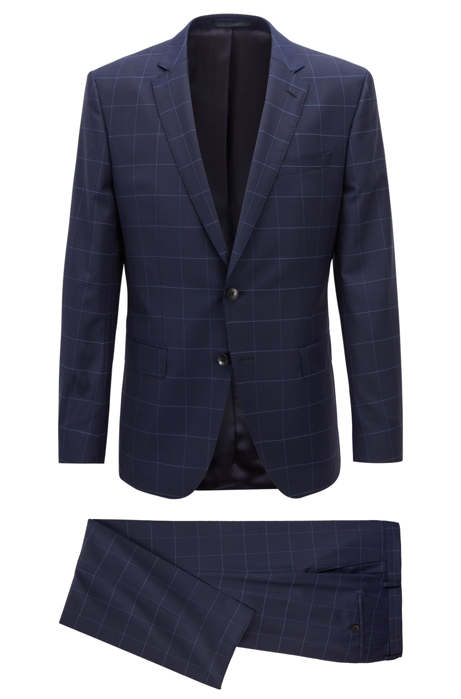 Slim-fit suit in plain-check virgin wool