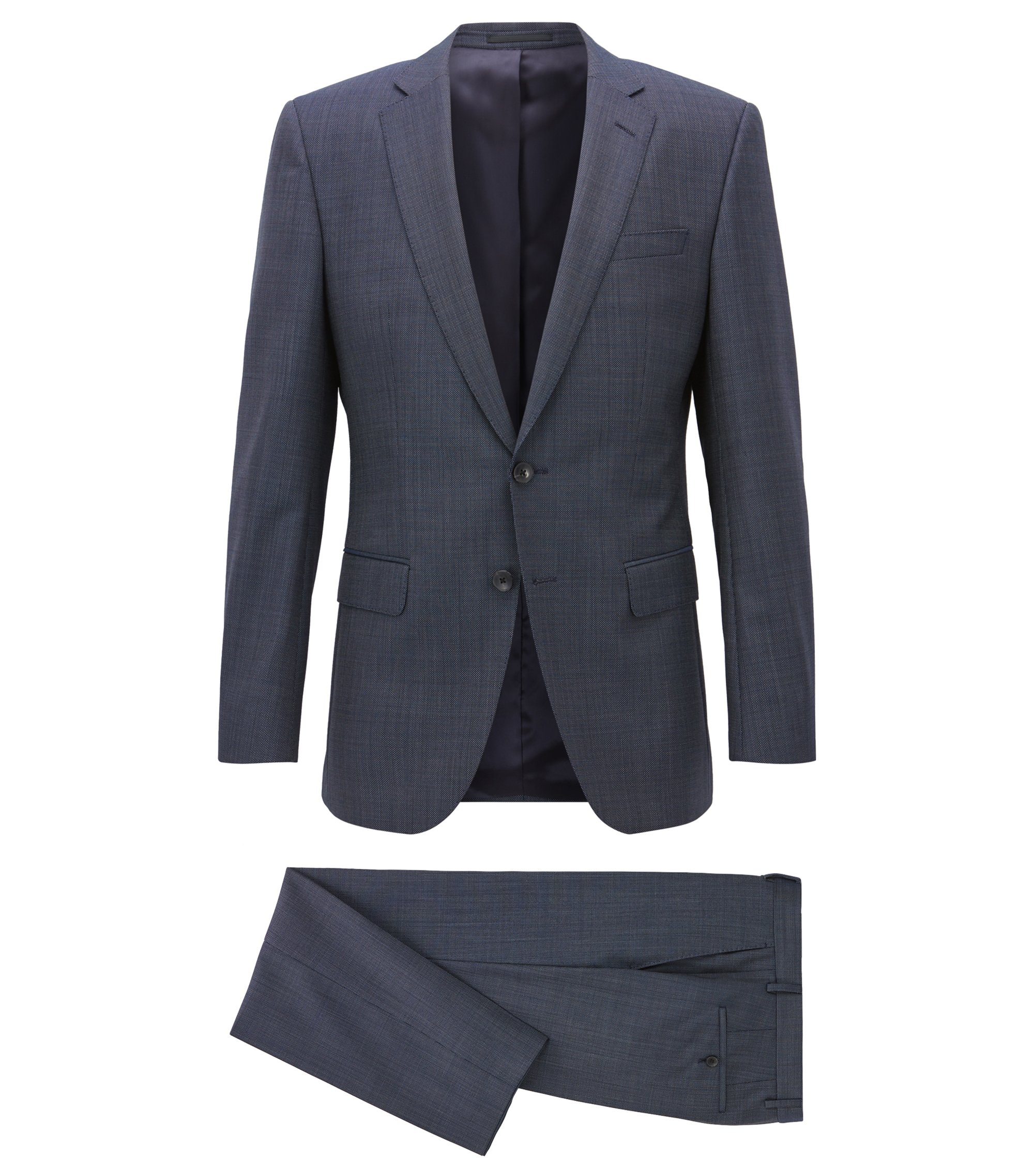 Slim-fit suit in micro-pattern virgin wool serge, Blue