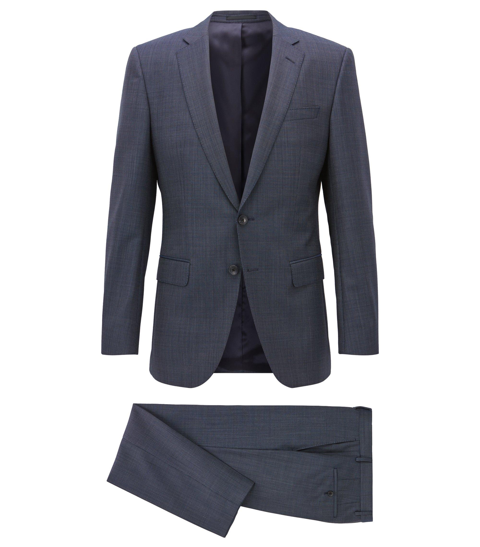 Traje slim fit en sarga de lana virgen con microestampado, Azul