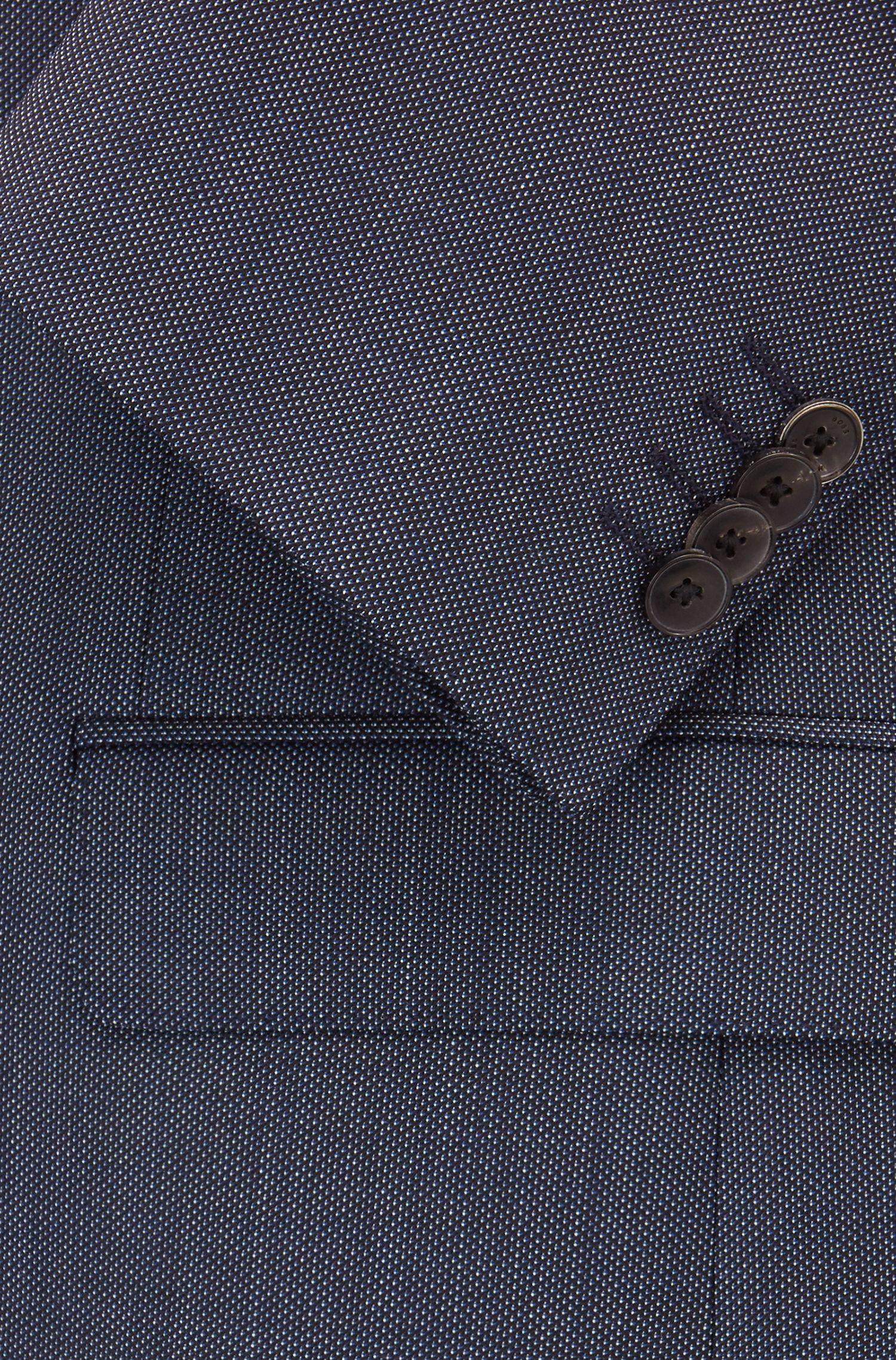 Costume Slim Fit en sergé de laine vierge à micro-motif