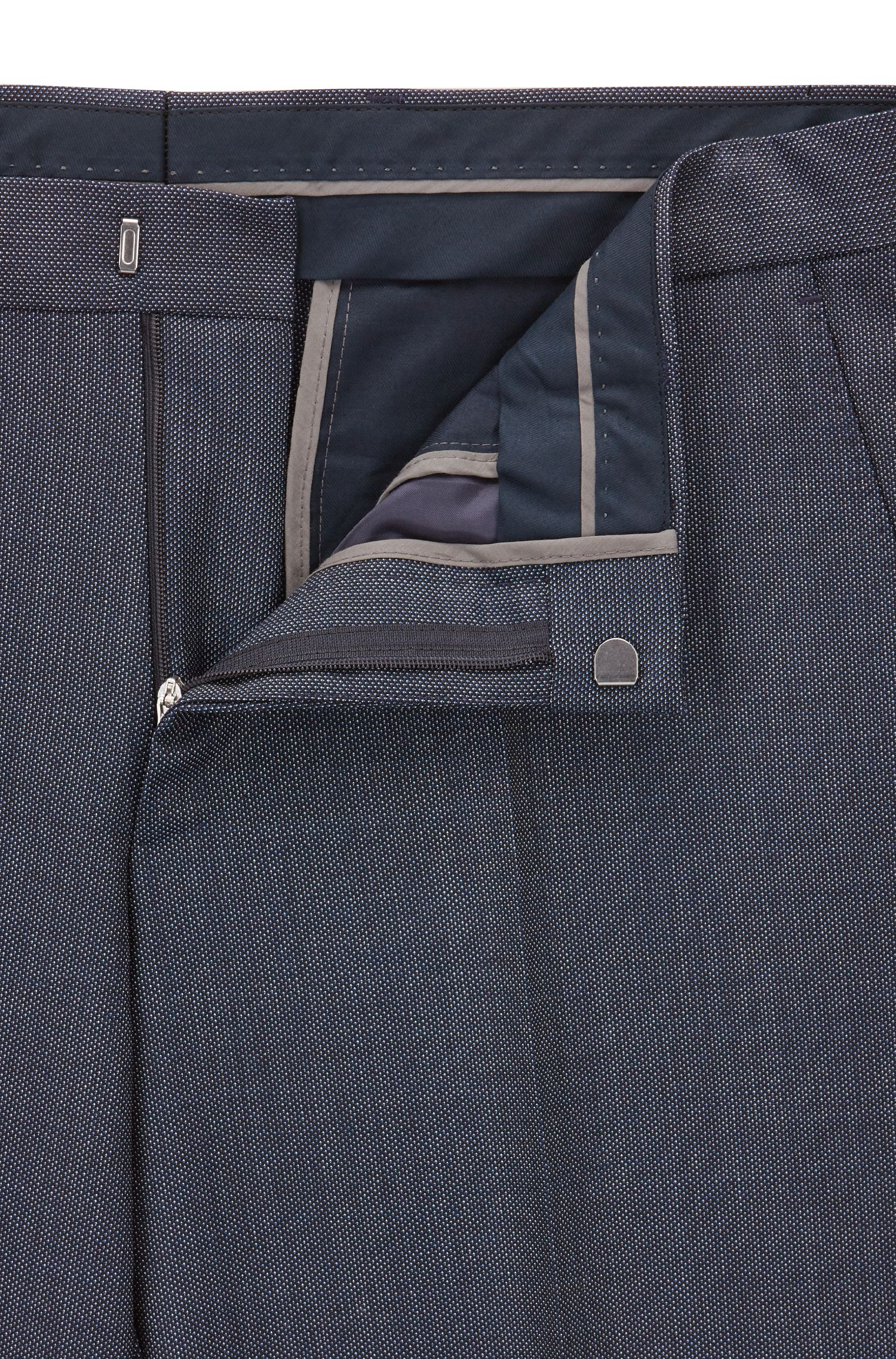 Abito slim fit in serge di lana vergine con microdisegni, Blu