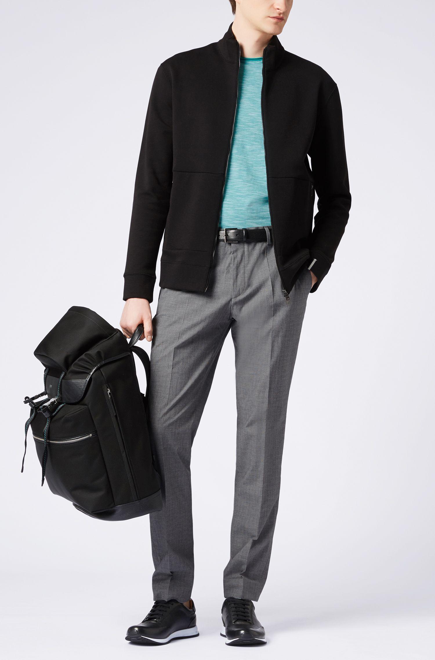 Slim-fit trousers in melange stretch cotton, Grijs