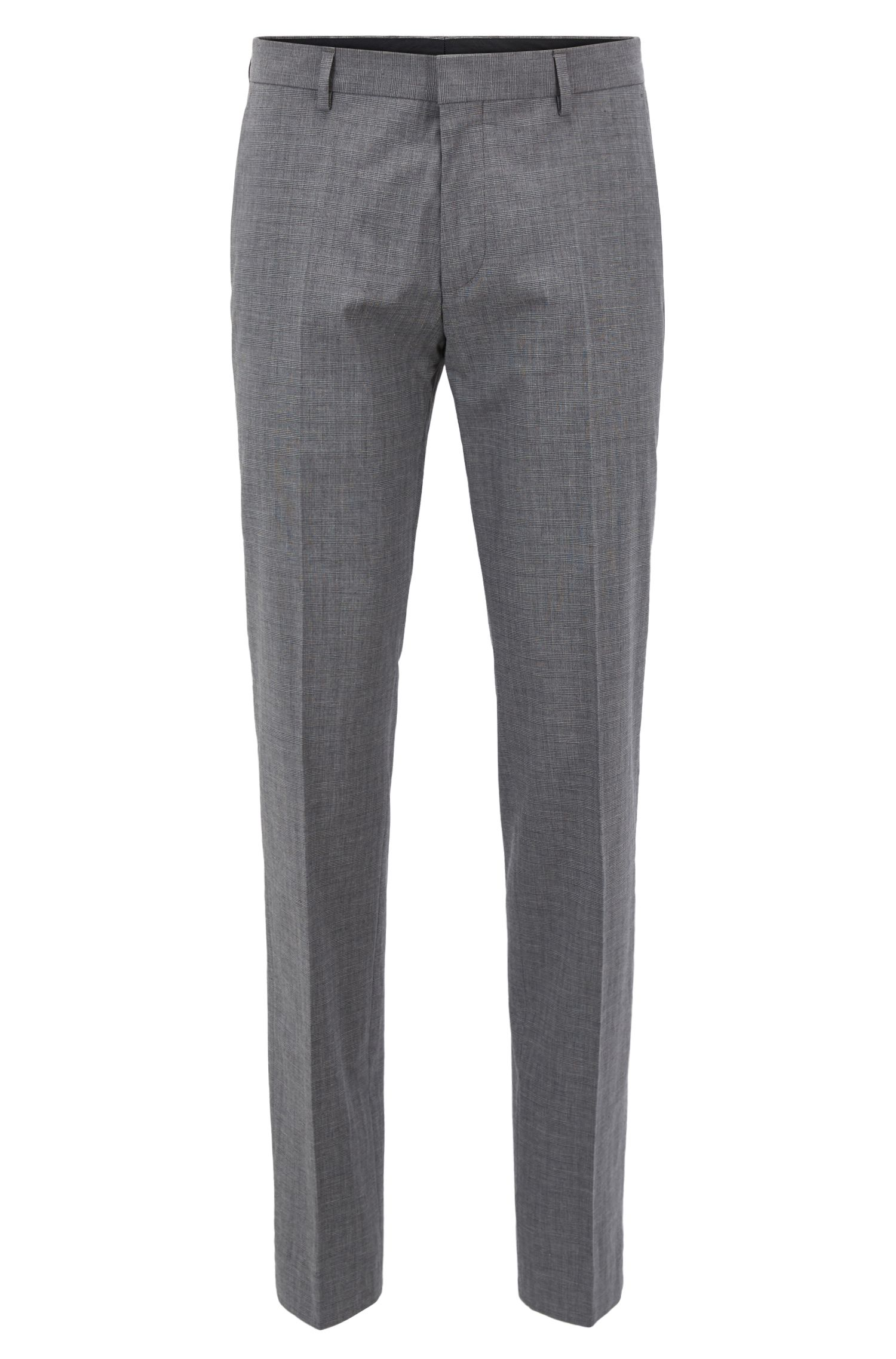Slim-fit trousers in melange stretch cotton, Gris