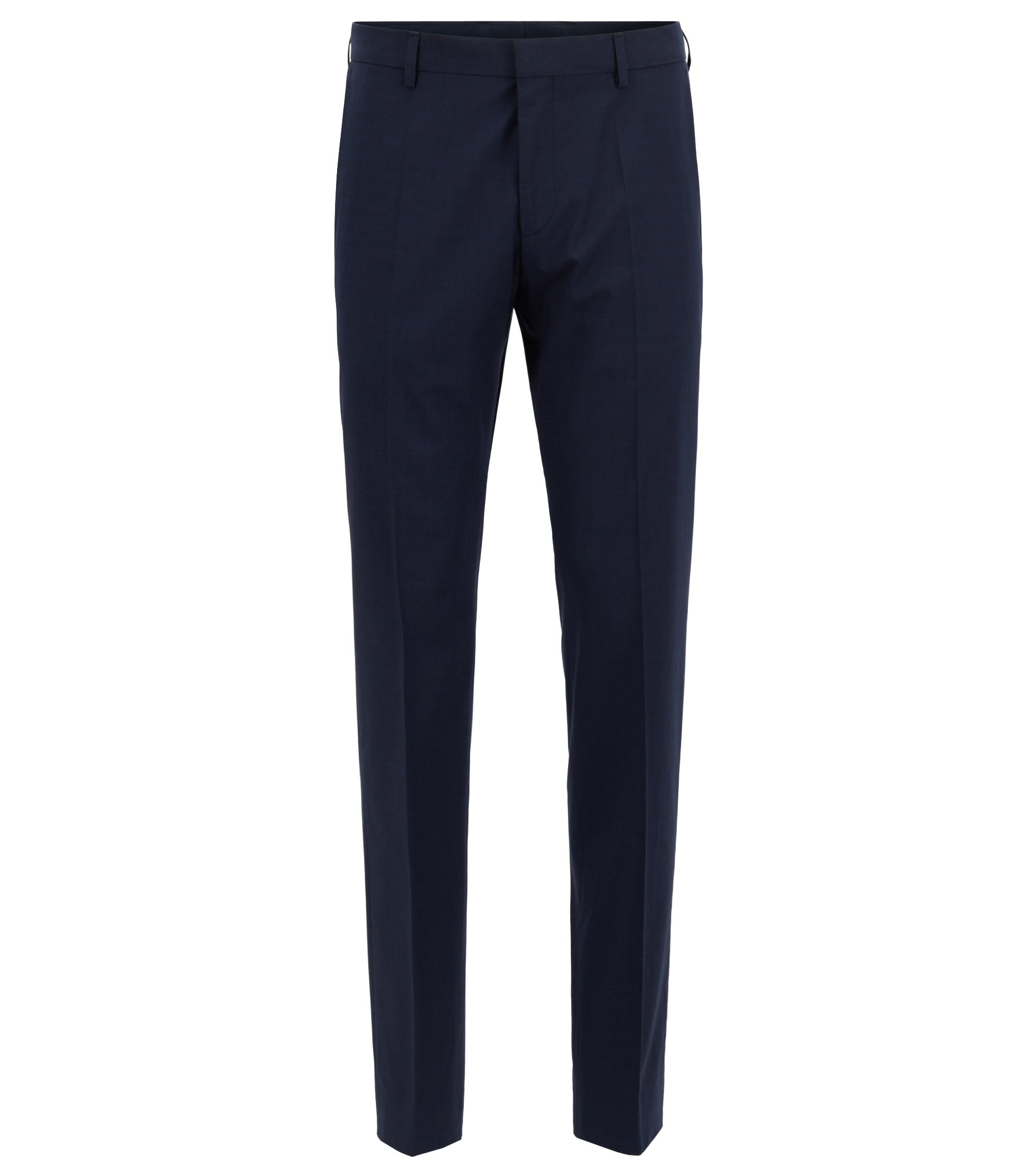 Slim-fit trousers in melange stretch cotton, Bleu