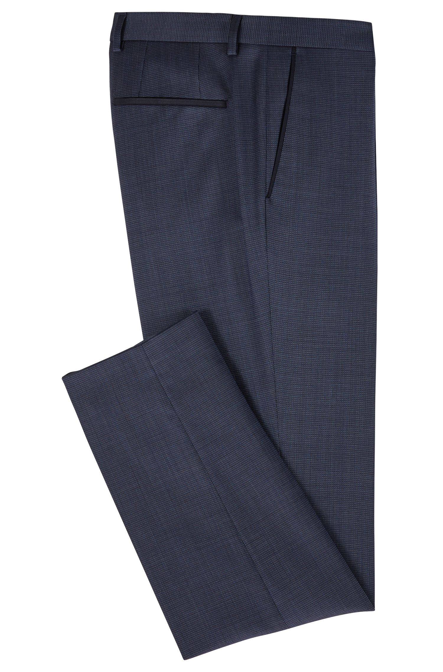Slim-fit trousers in wool with ripstop-tape trim, Blue