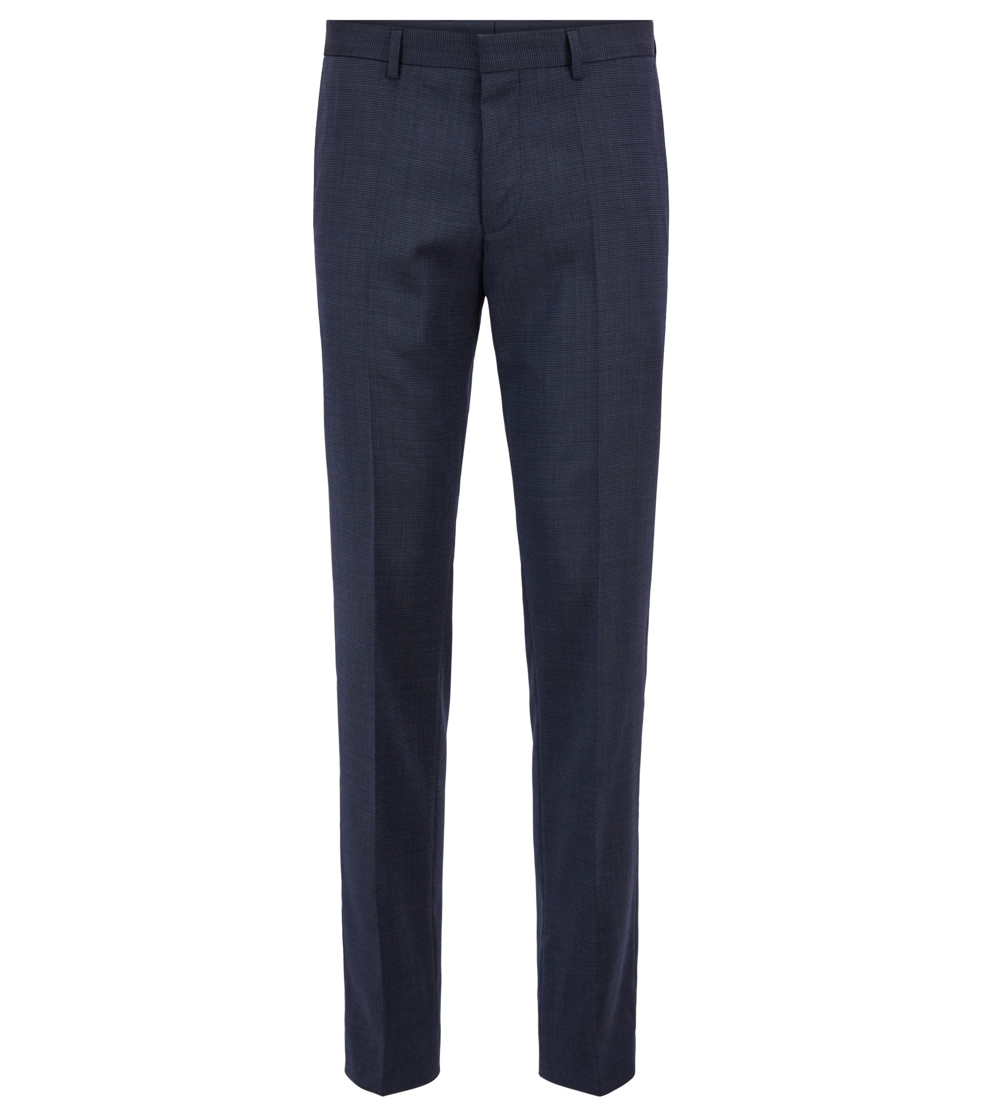Pantalon Slim Fit en laine, aux finitions en ruban ripstop, Bleu