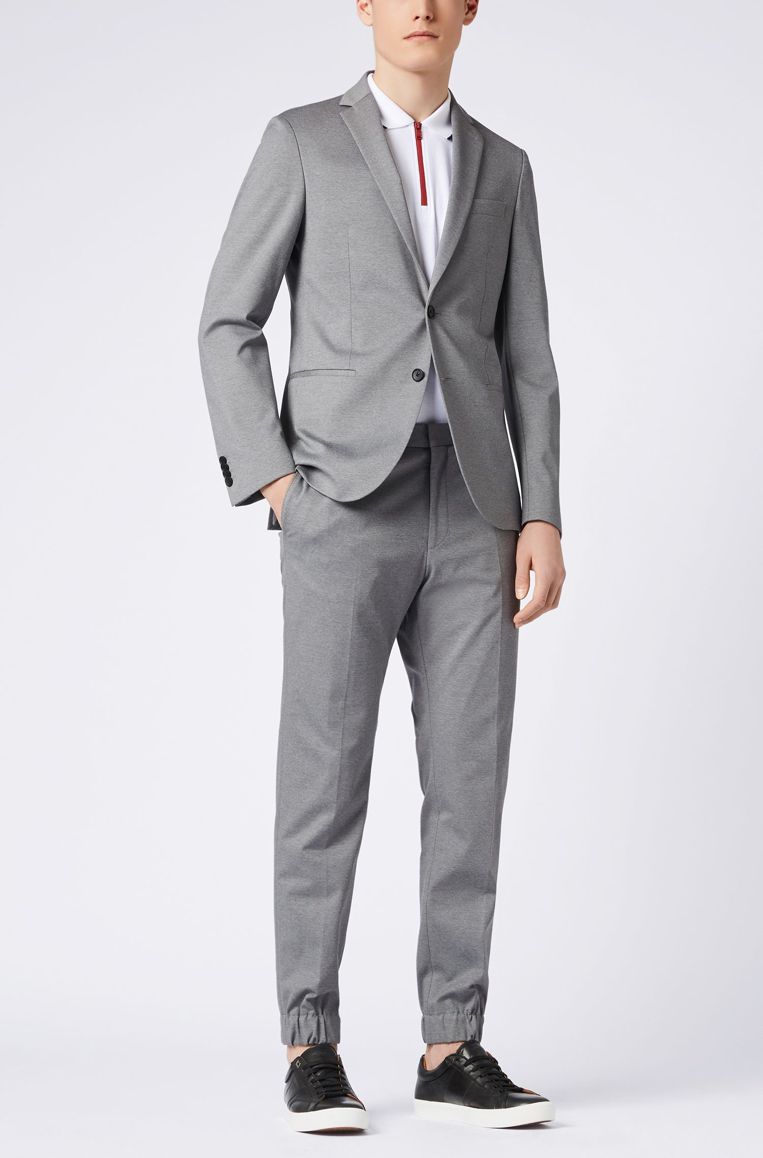 Slim-fit tailored trousers with cuffed hems, Grey
