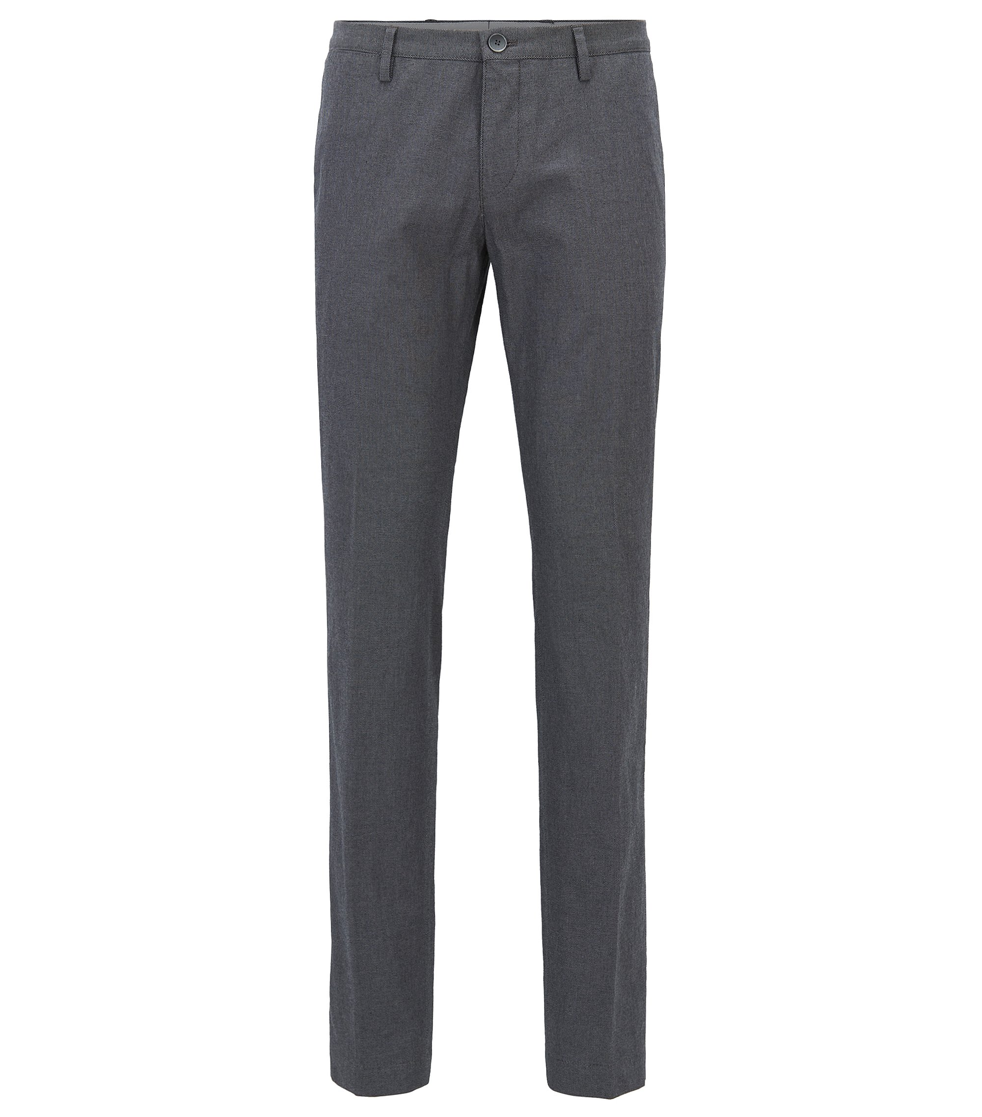 Slim-fit trousers in melange stretch cotton, Grey