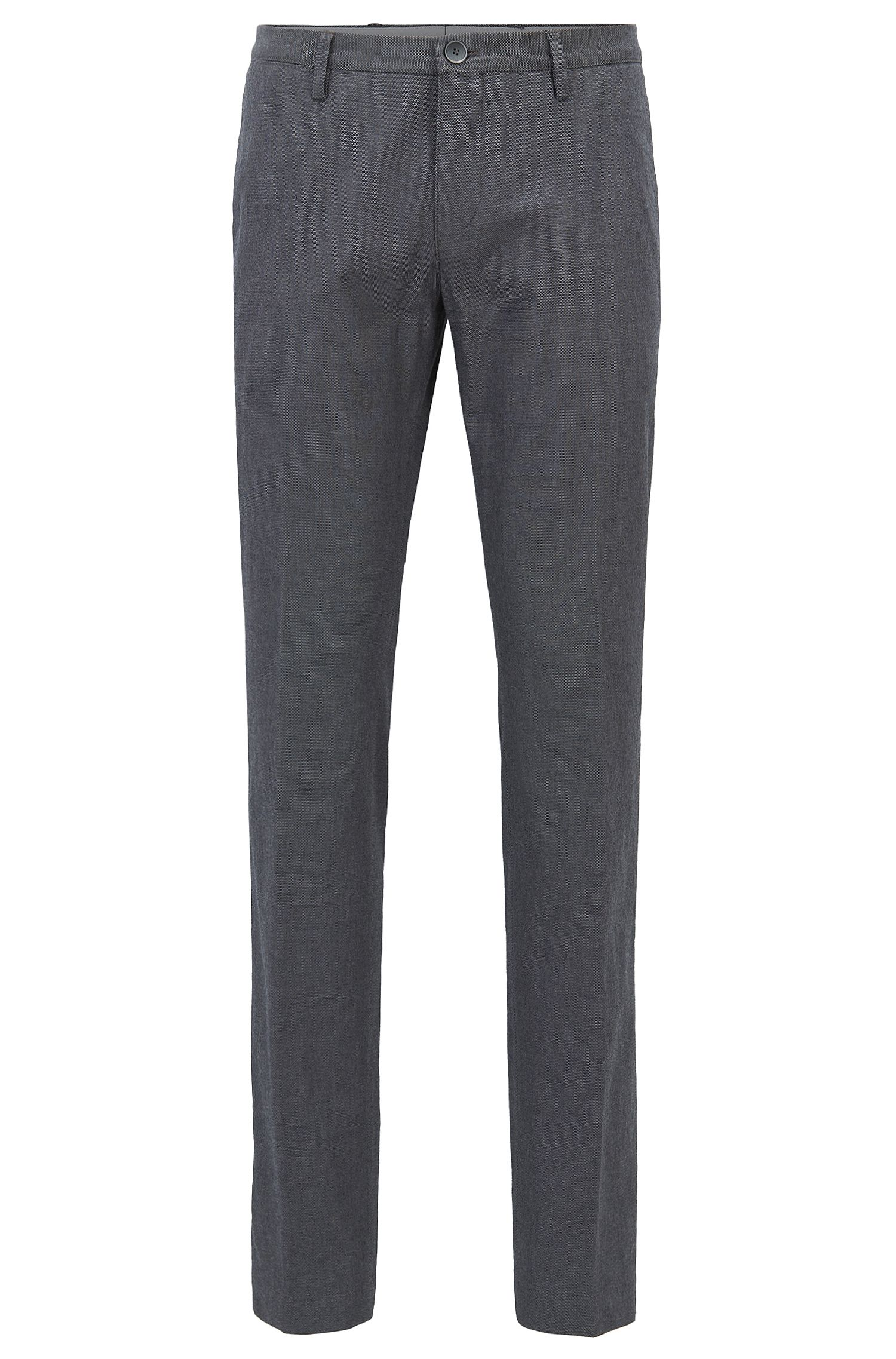 Pantalon Slim Fit en coton stretch chiné, Gris