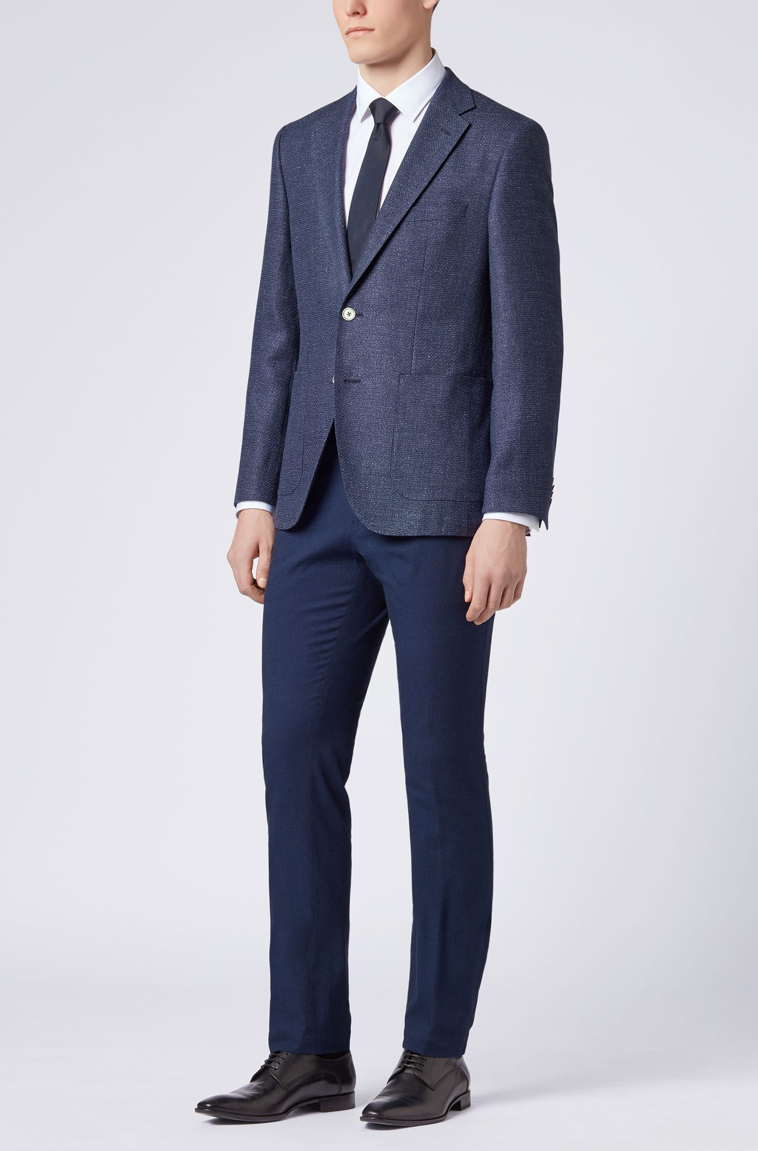 Pantalon Slim Fit en coton stretch chiné, Bleu