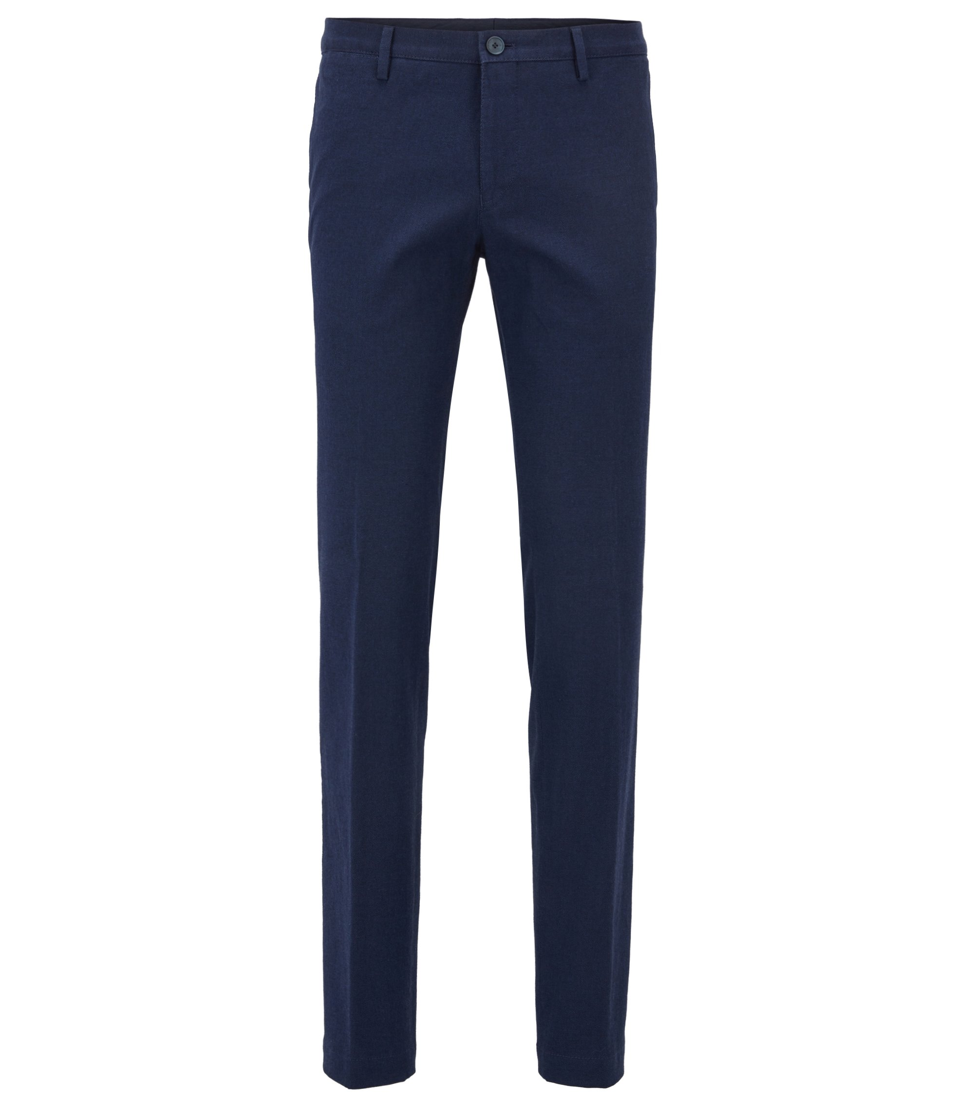 Slim-fit trousers in melange stretch cotton, Blue
