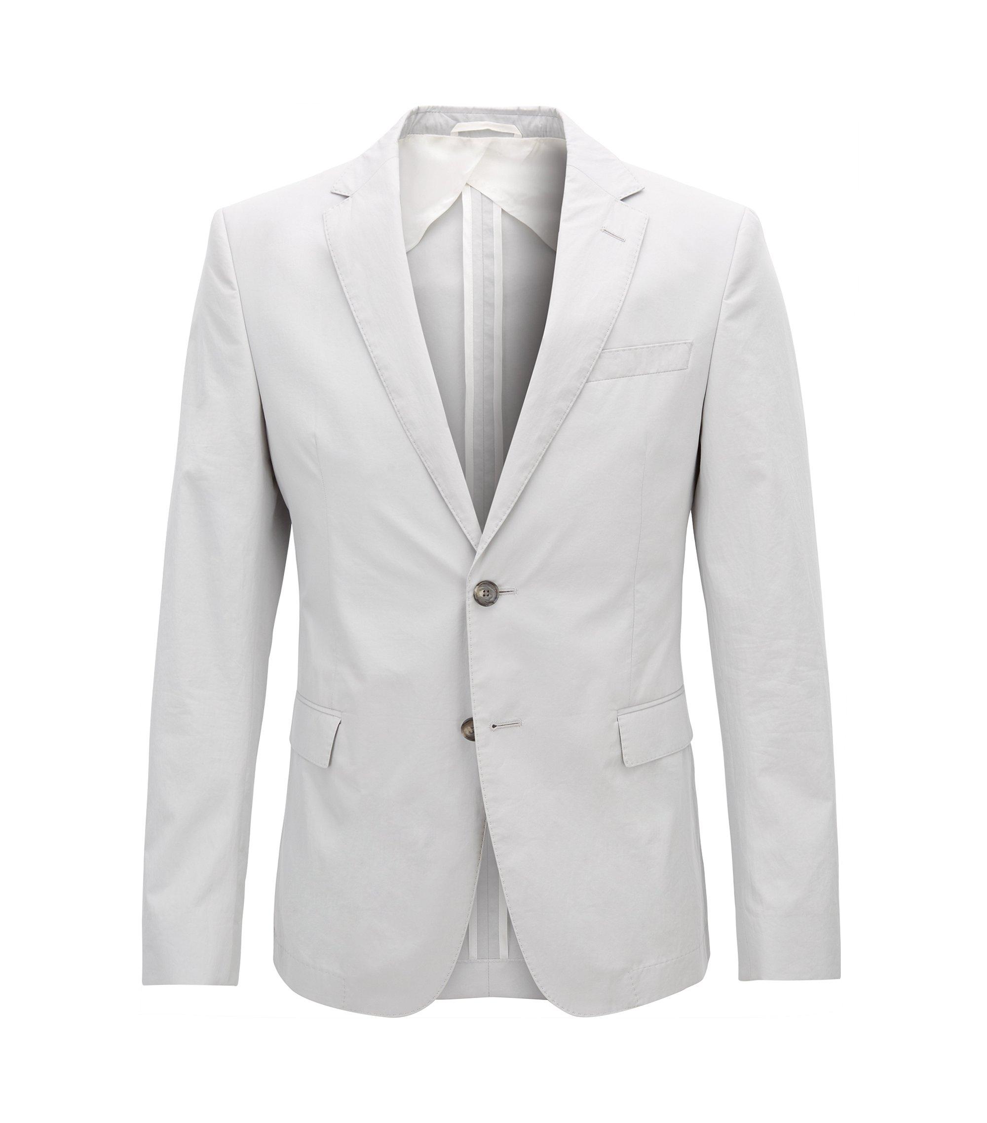 Slim-fit blazer in paper-touch cotton poplin, Light Grey