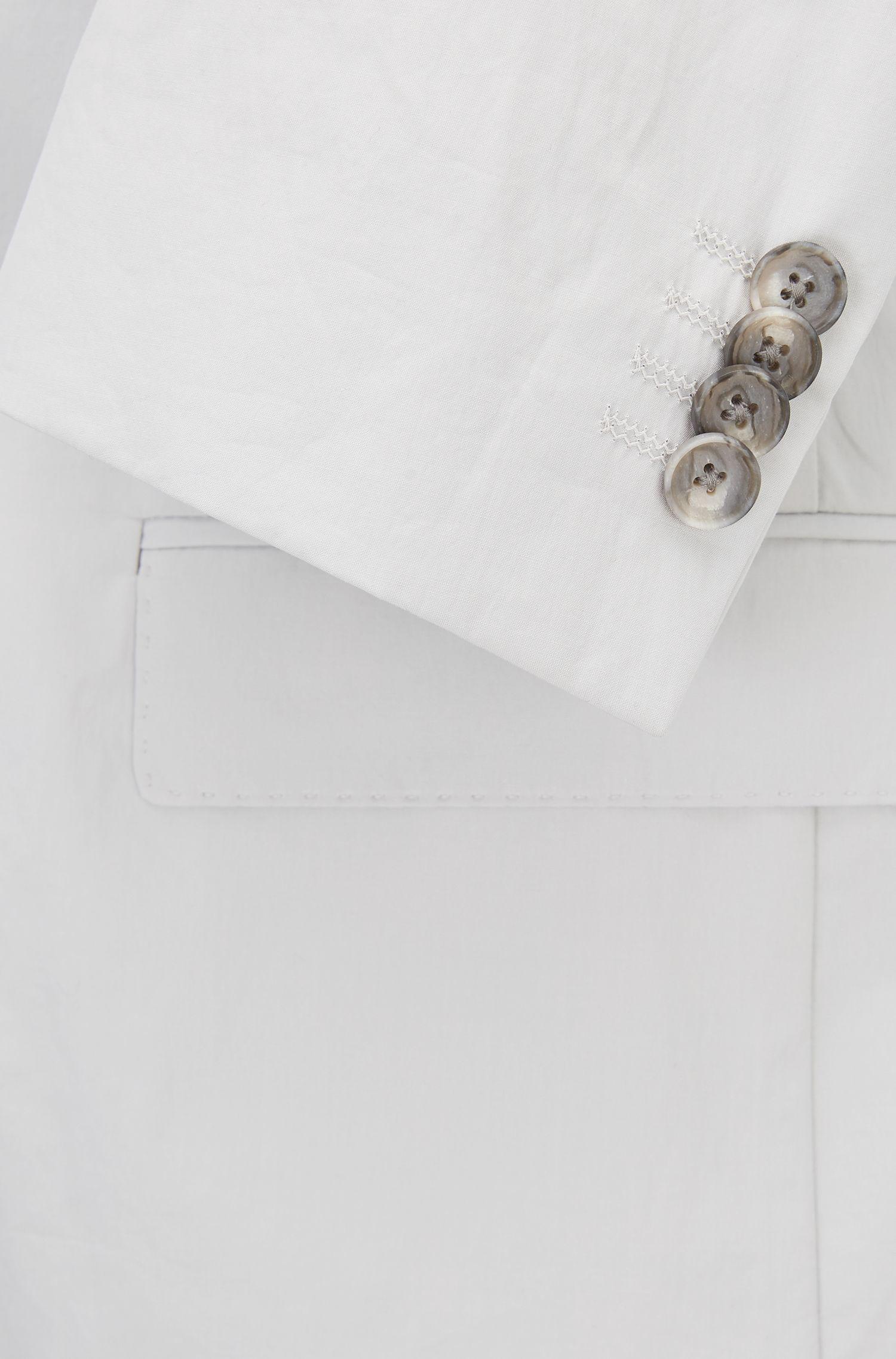 Blazer slim fit en popelín de algodón con tacto de papel, Gris claro