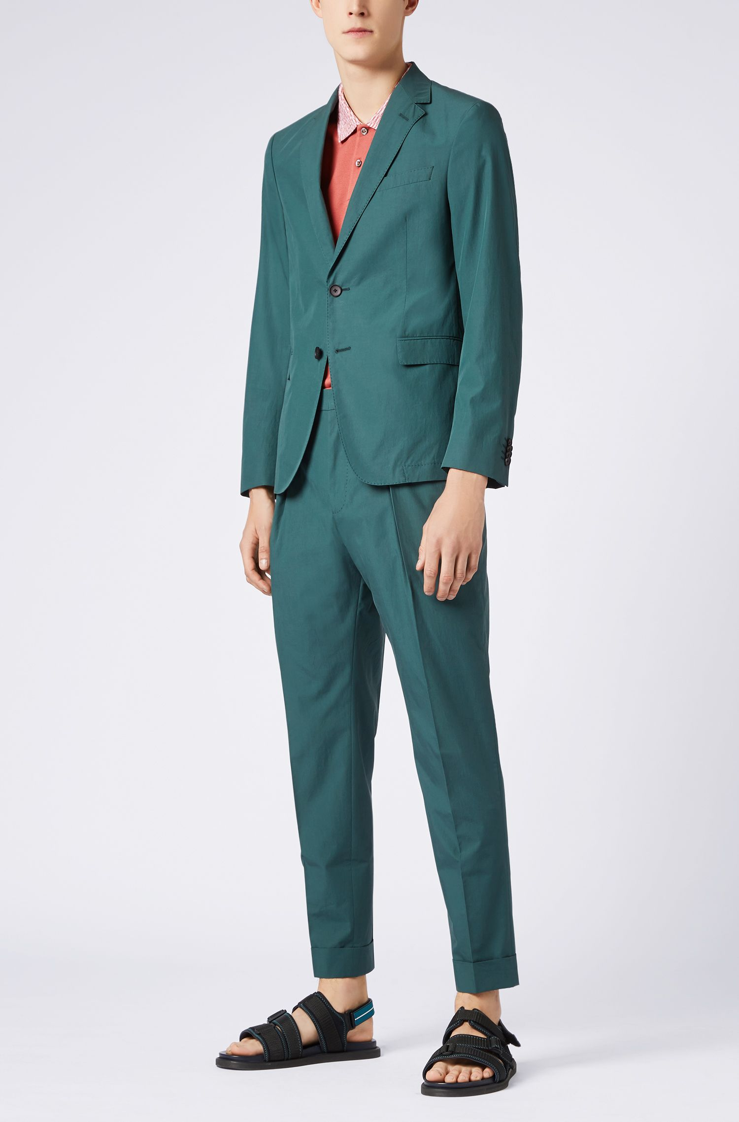 Blazer slim fit in popeline di cotone manocarta, Verde scuro