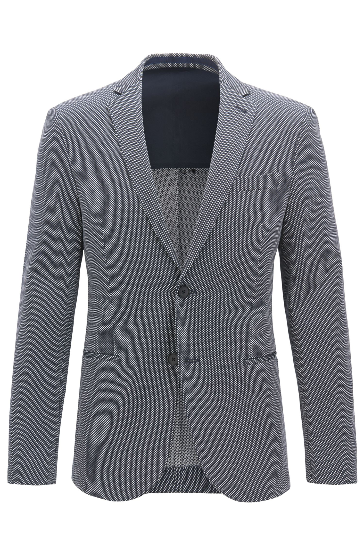 Slim-fit blazer with all-over micro pattern, Blue