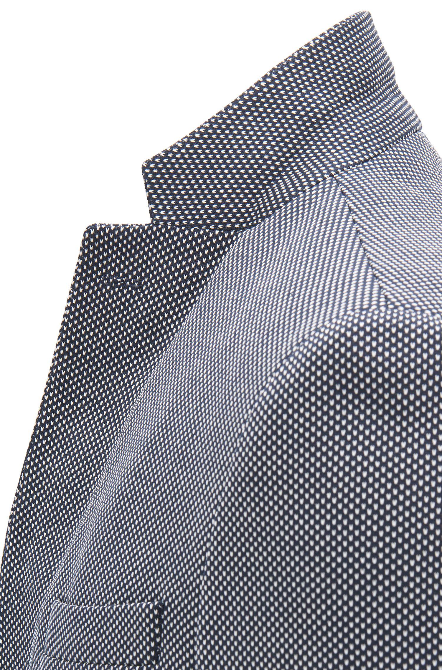 Blazer Slim Fit à micro-motif intégral, Bleu