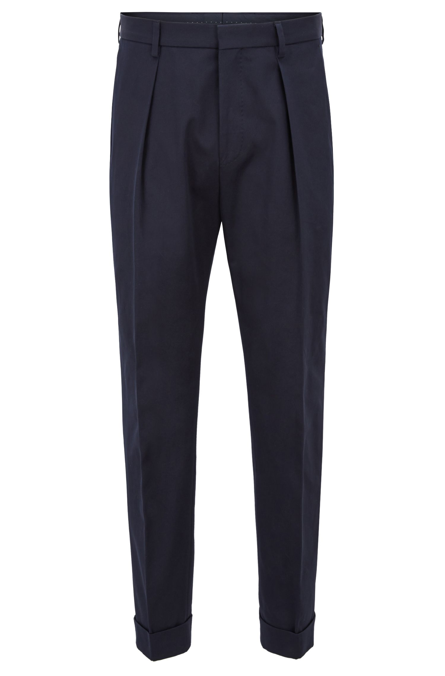 Relaxed-fit trousers in cotton with cropped length , Dark Blue