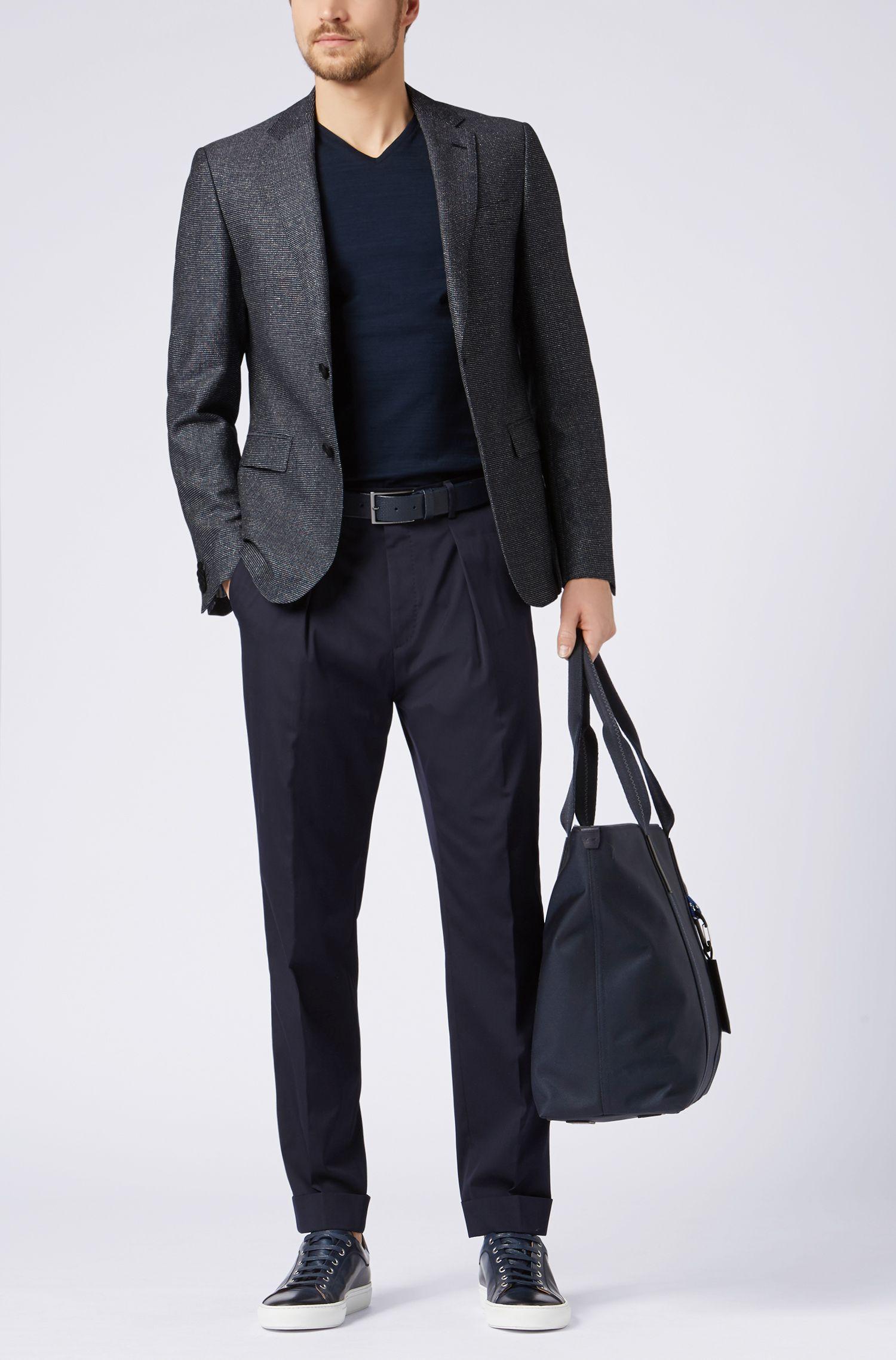 Slim-fit blazer in a melange virgin-wool blend