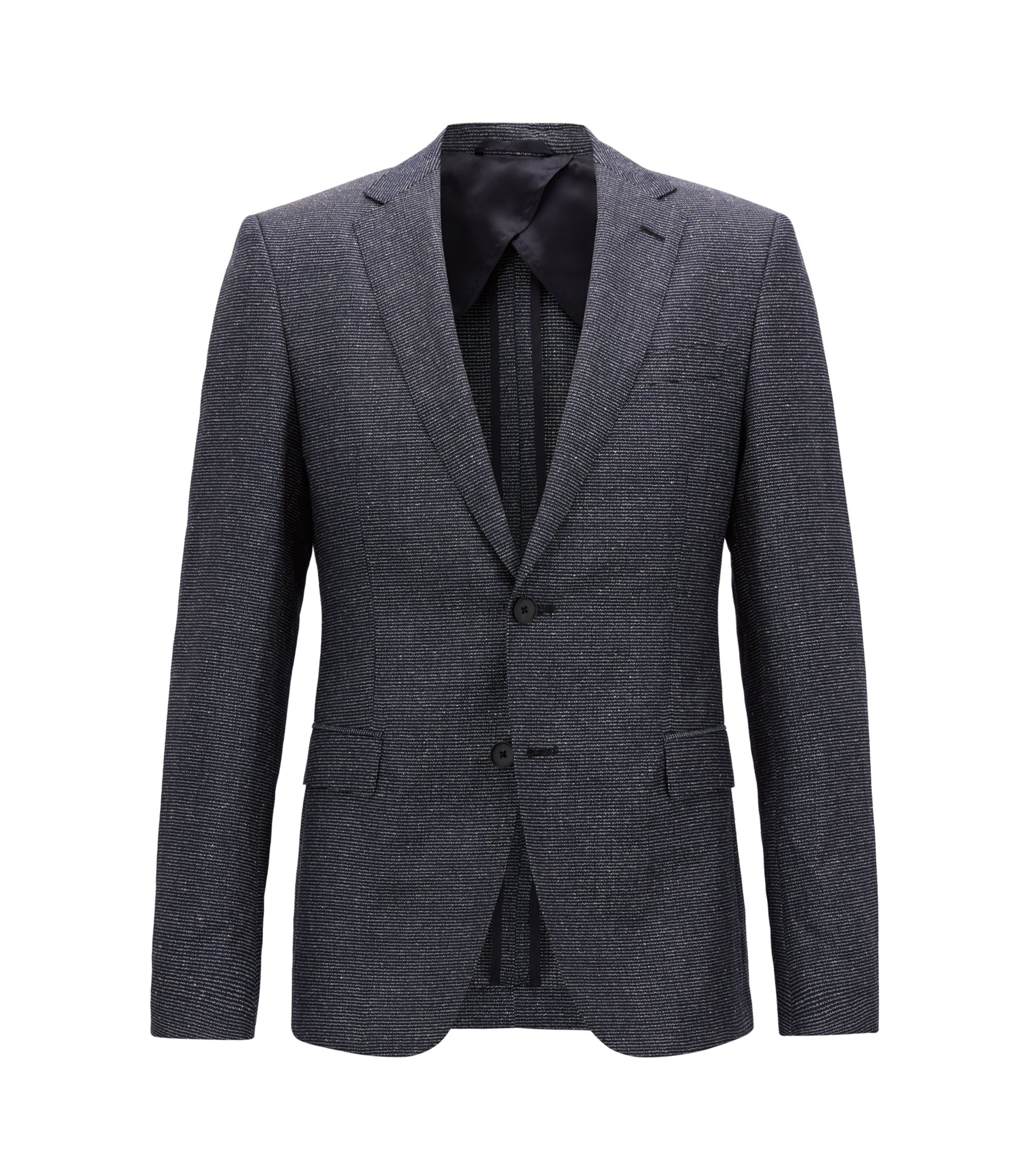 Slim-fit blazer in a melange virgin-wool blend, Blue