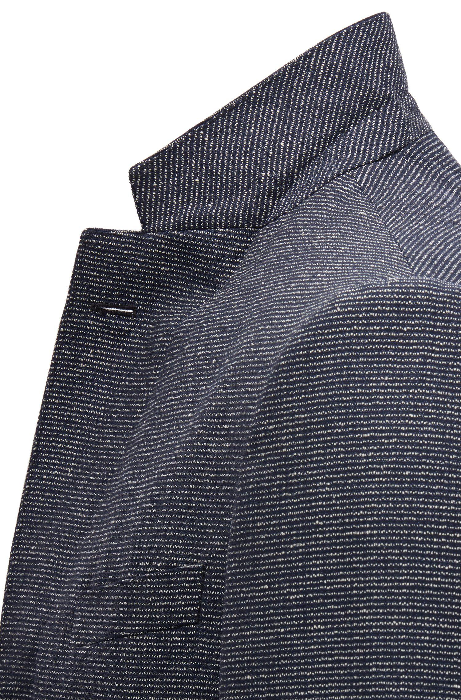 Blazer slim fit in misto lana vergine mélange, Blu