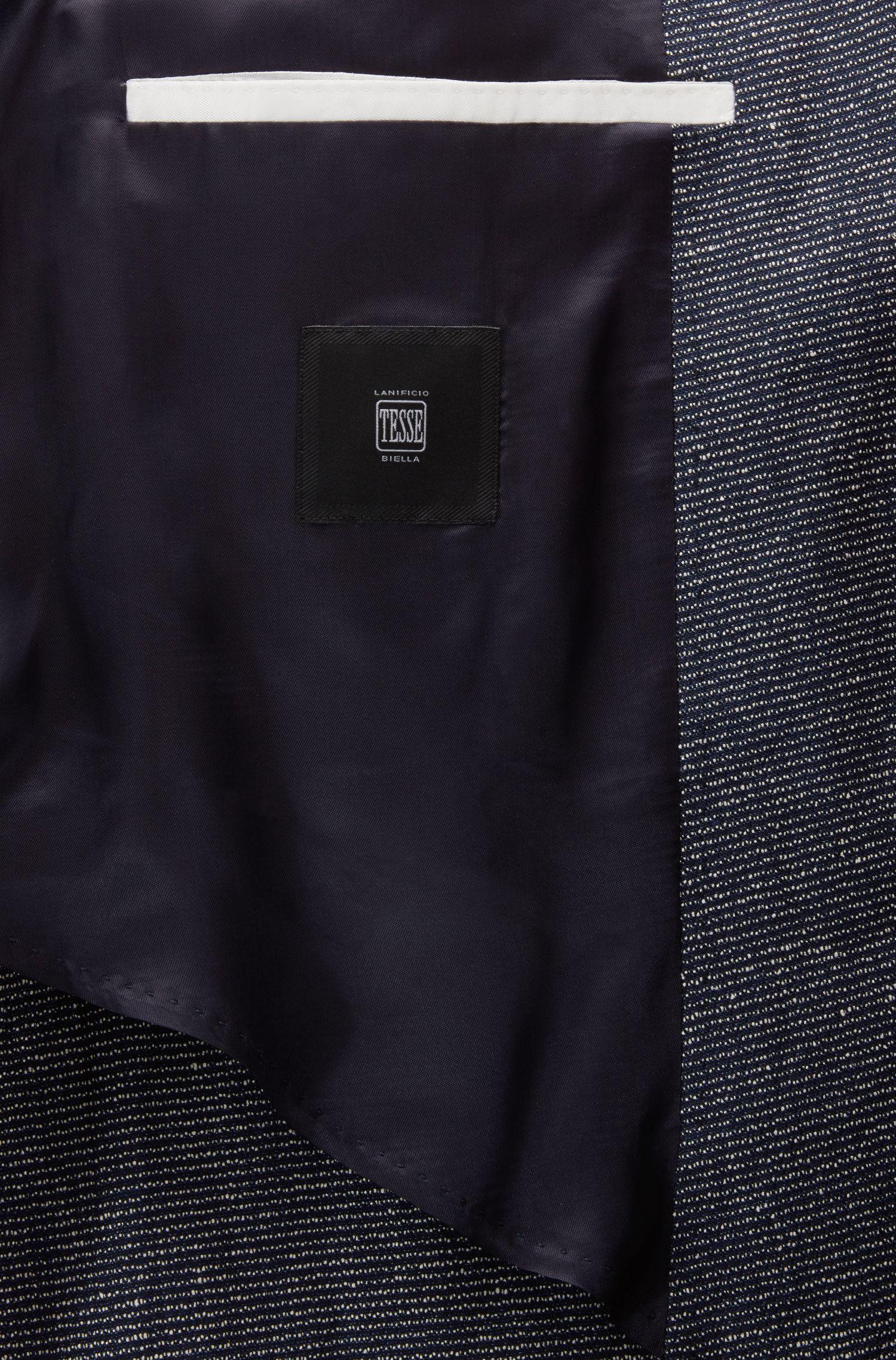 Blazer Slim Fit en laine vierge mélangée chinée, Bleu