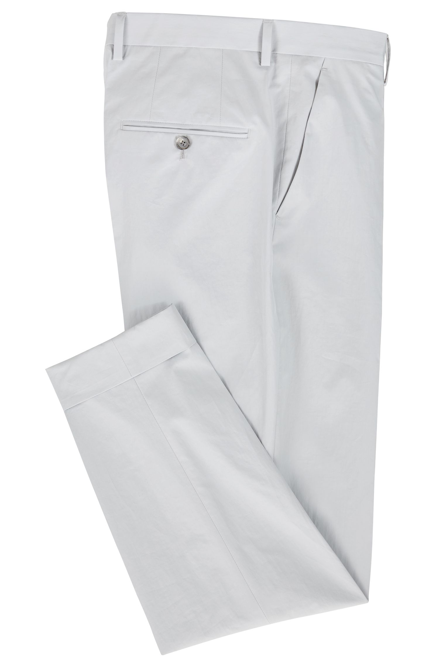 Relaxed-Fit Hose aus Baumwolle in Cropped-Länge mit Paper-Touch-Finish, Hellgrau