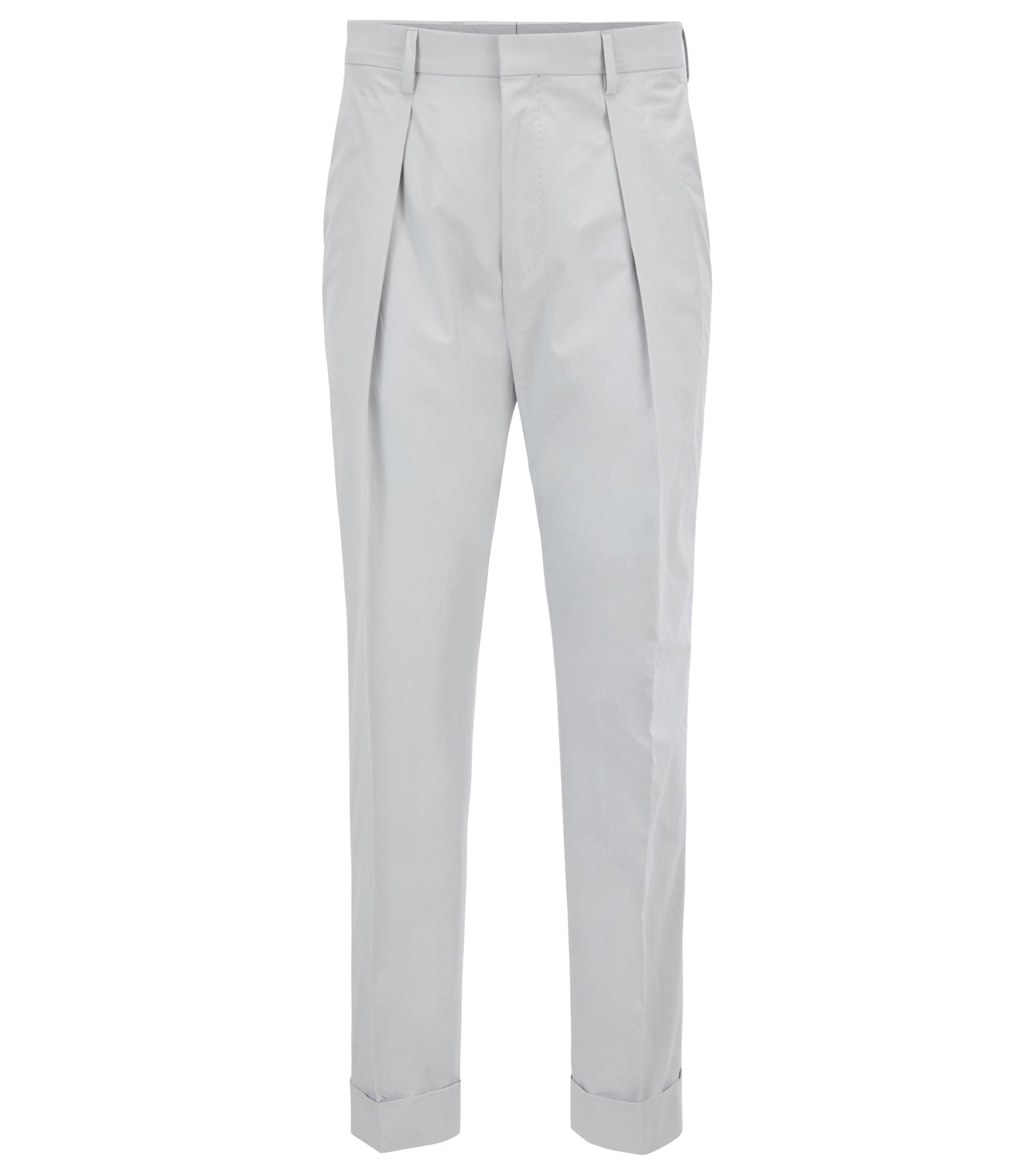 Relaxed-fit cropped trousers in paper-touch cotton, Light Grey