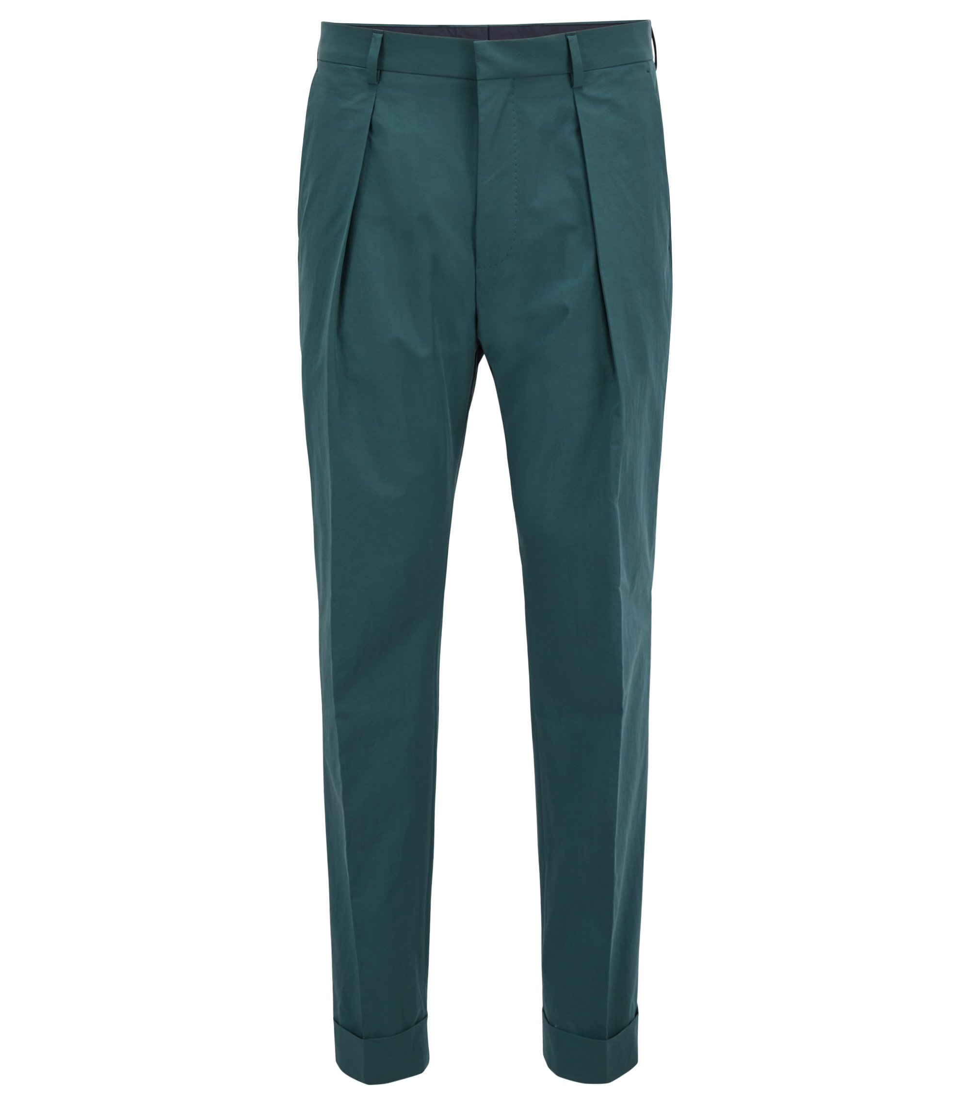 Relaxed-fit cropped trousers in paper-touch cotton, Dark Green