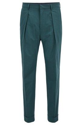 Pantalon raccourci Relaxed Fit en coton au toucher papier, Vert sombre