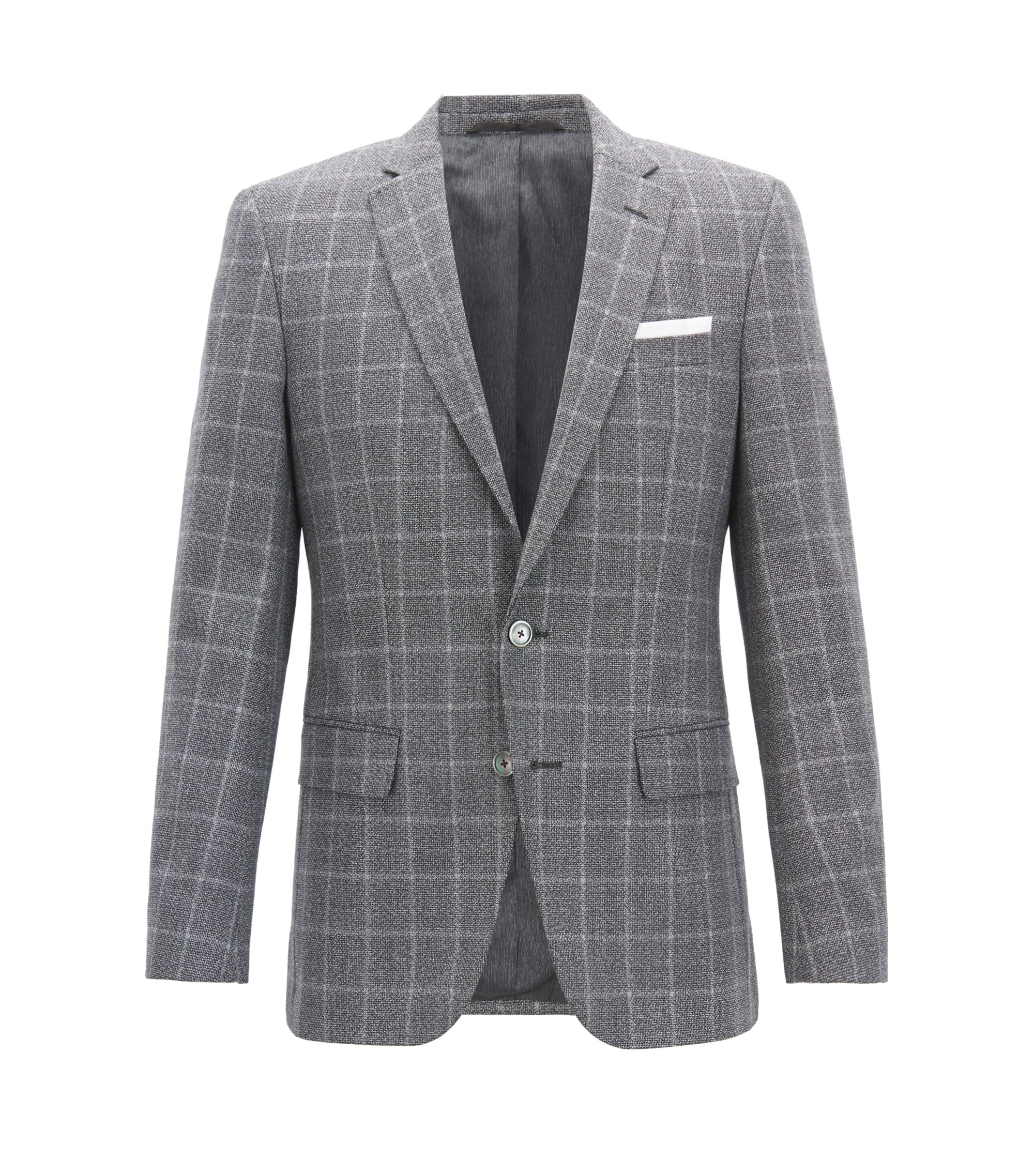 Slim-fit blazer in virgin wool with contrast pocket square, Grey