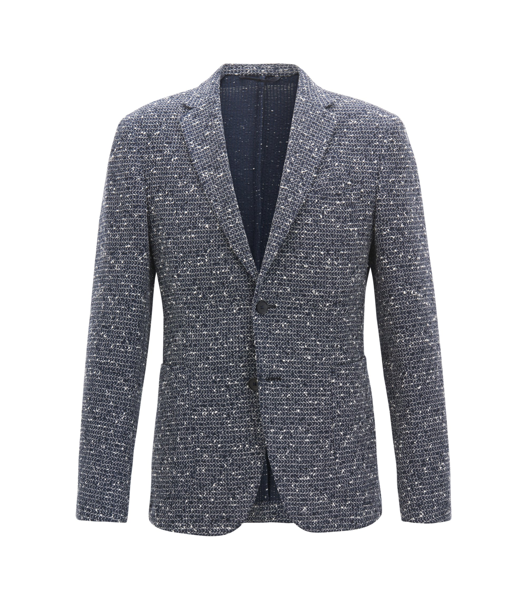Slim-fit blazer in a structured cotton blend, Dark Blue