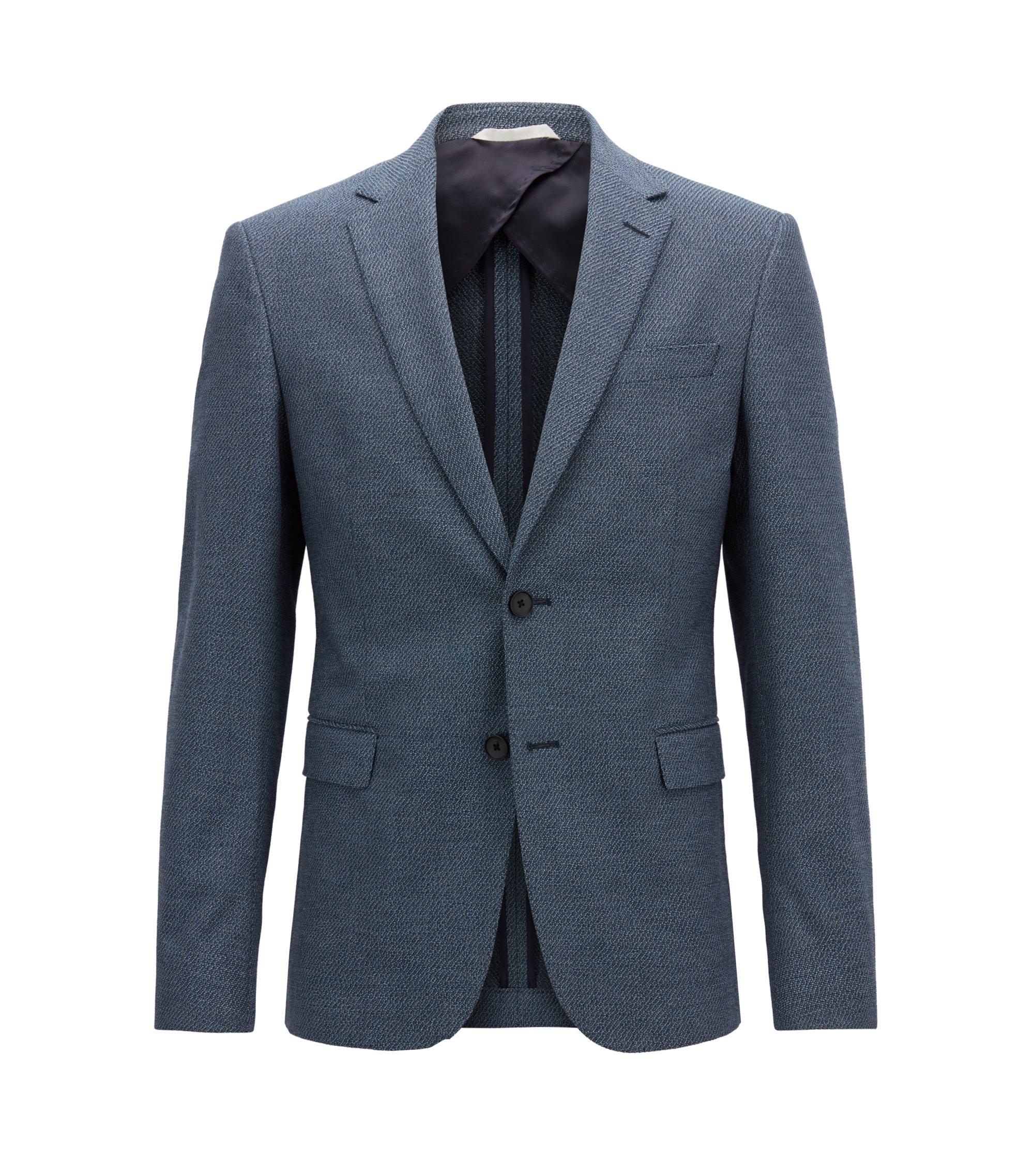 Blazer slim fit in cotone elasticizzato con microdisegni, Blue Scuro