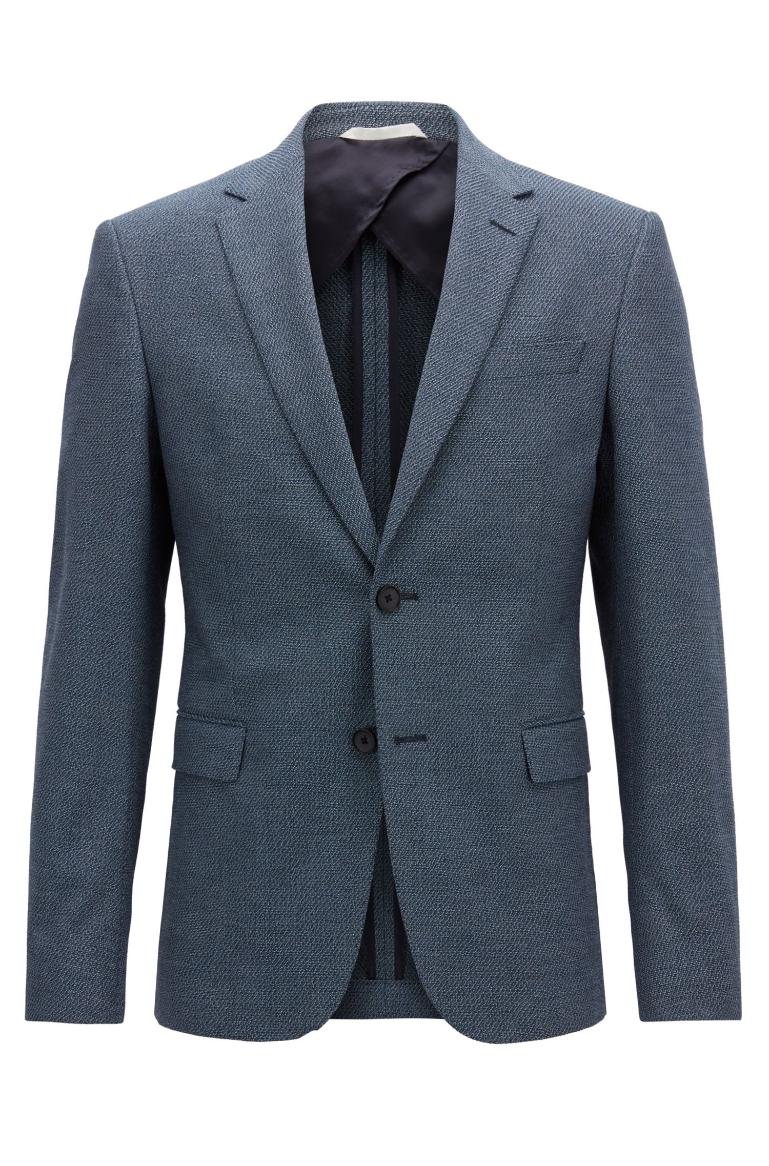 Slim-fit blazer in micro-patterned stretch cotton, Dark Blue