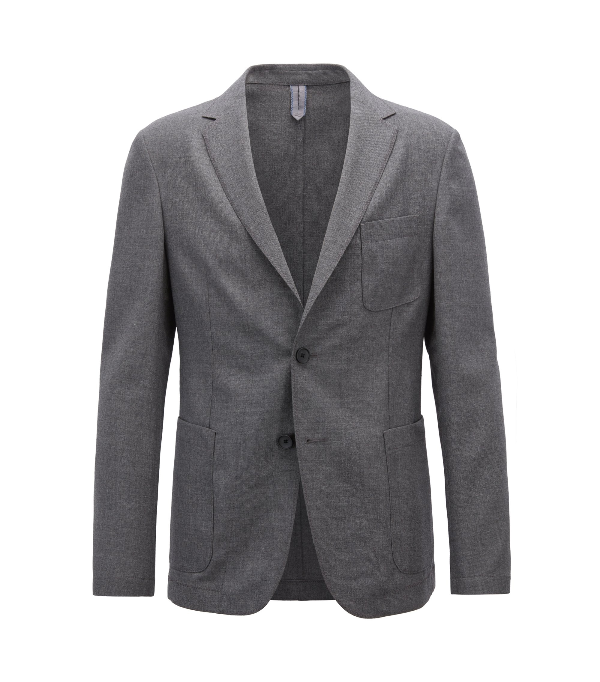 Slim-fit blazer in melange virgin wool, Grey