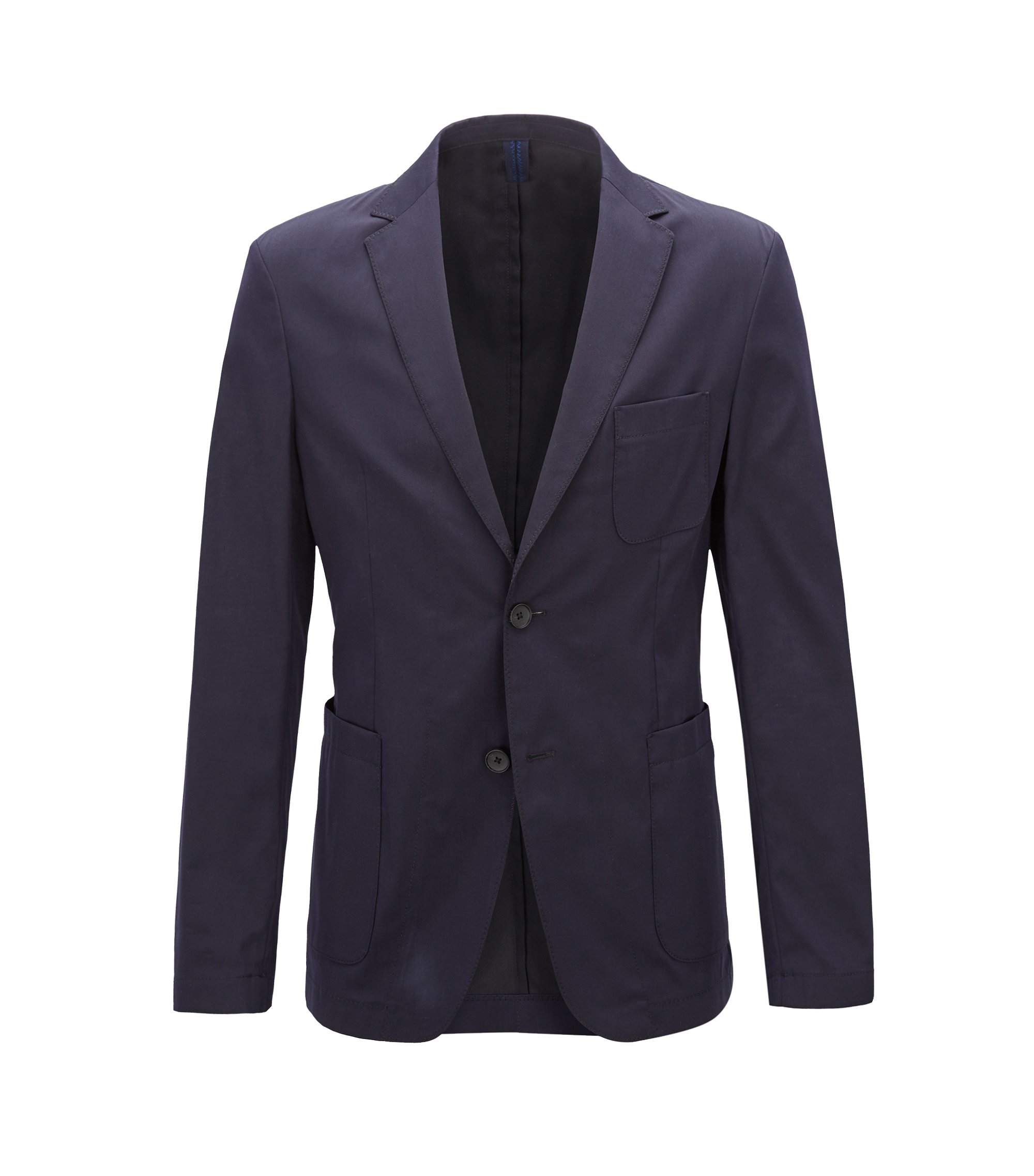 Slim-fit blazer in a lightweight stretch-cotton blend, Blue