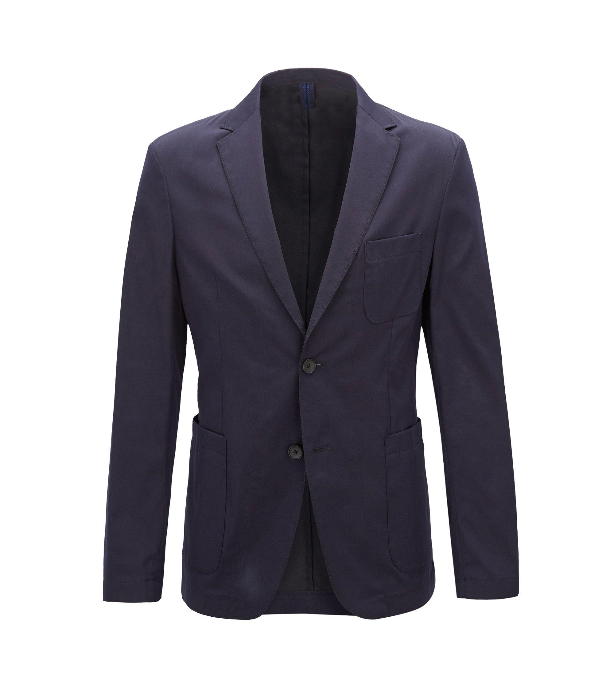 Blazer slim fit in misto cotone elasticizzato leggero, Blu