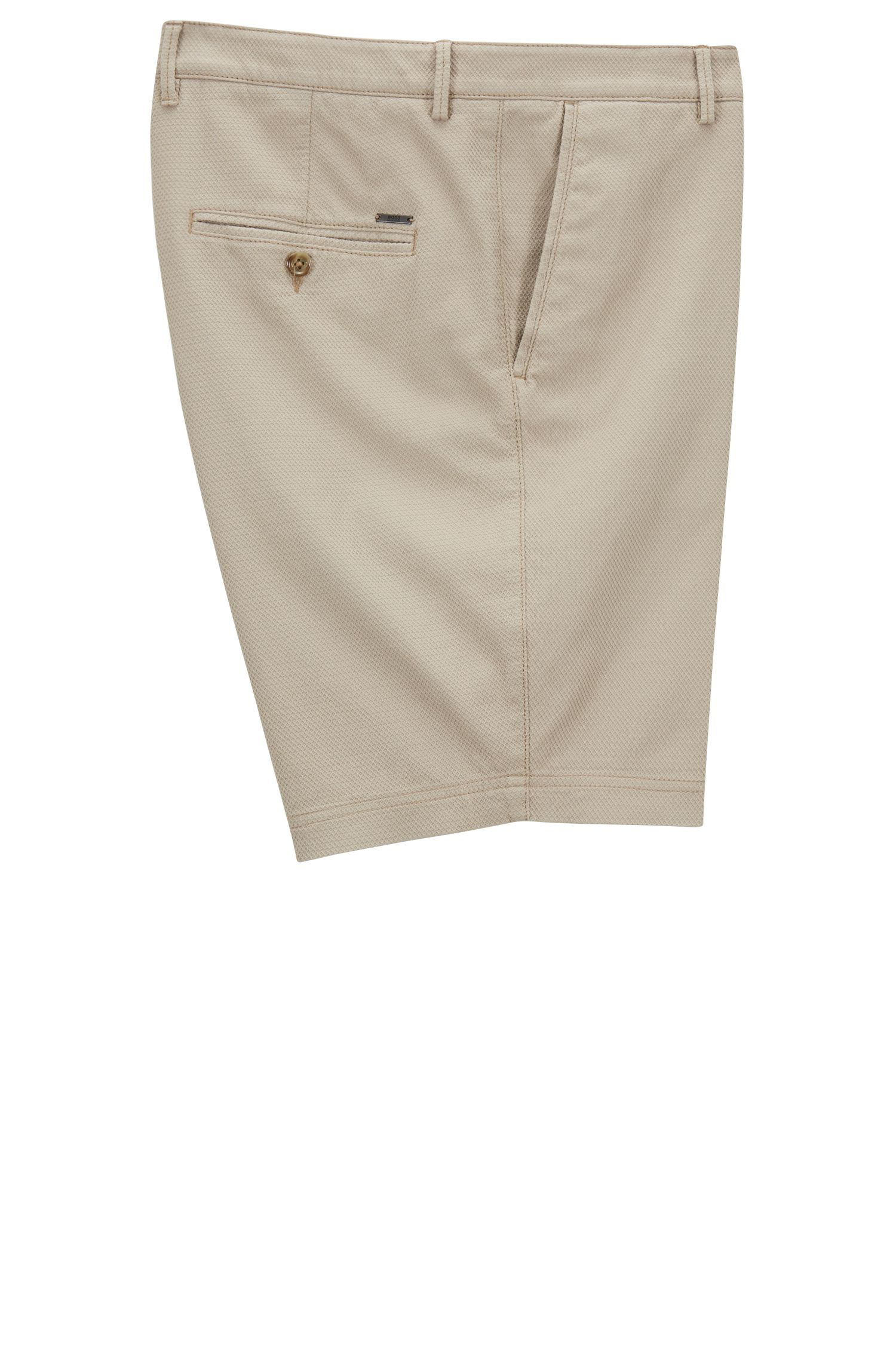 Short Regular Fit en coton stretch structuré, Beige clair