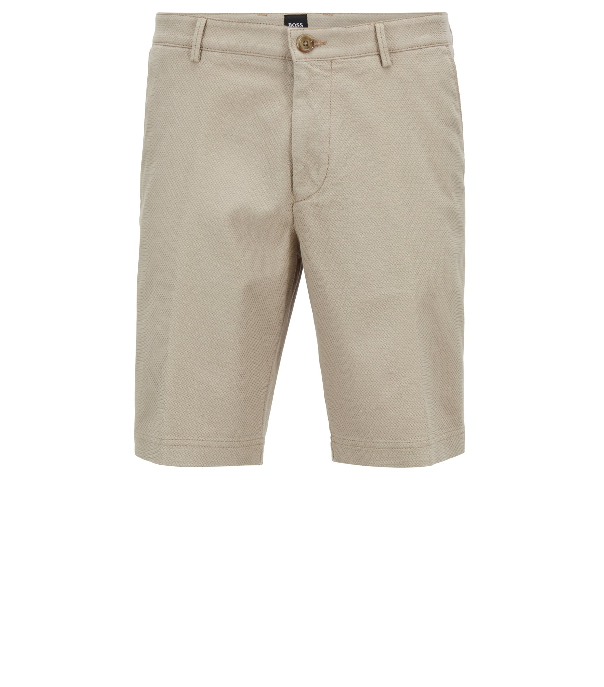 Regular-fit short van gestructureerde stretchkatoen, Lichtbeige