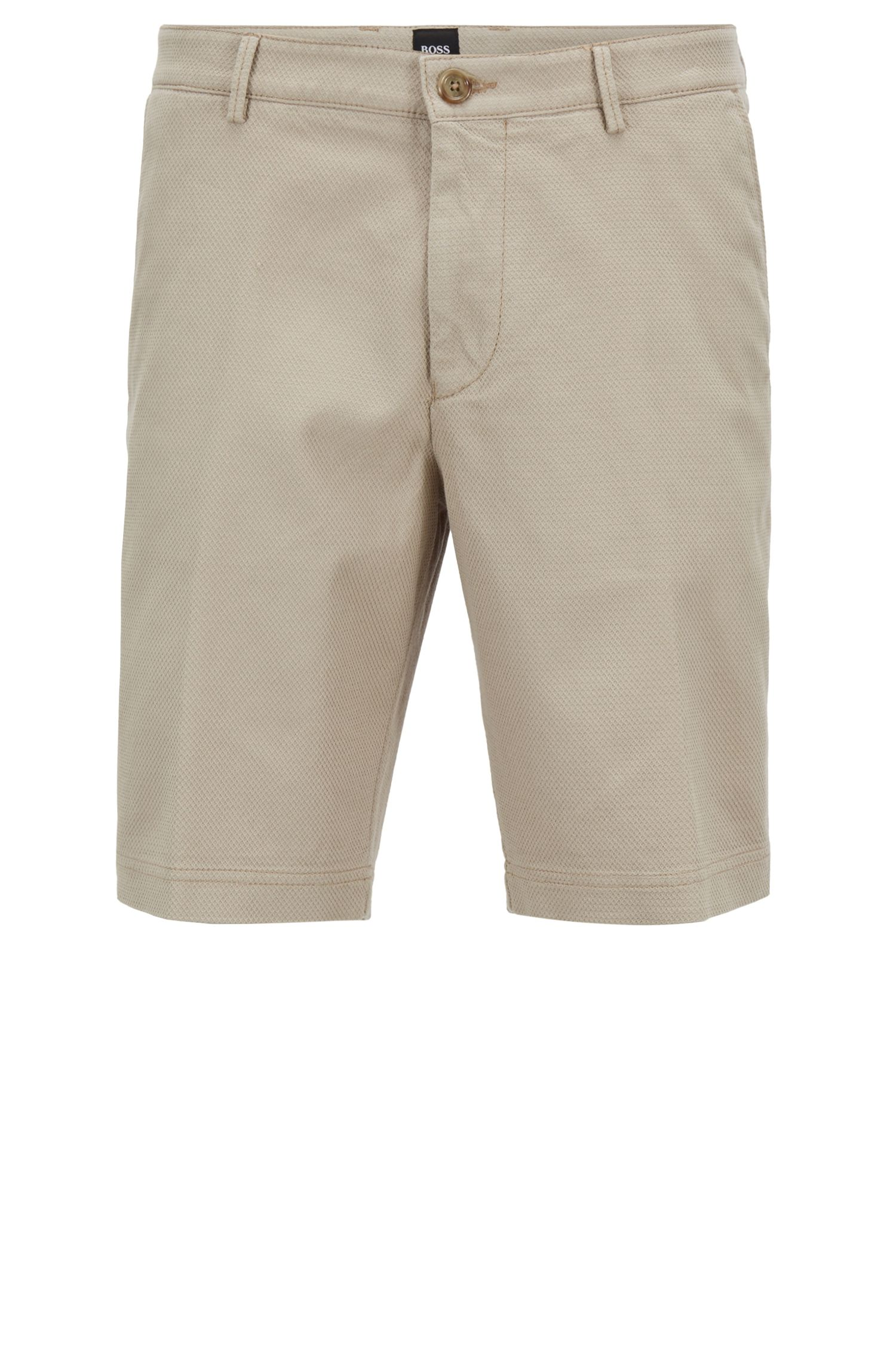 Regular-Fit Shorts aus strukturierter Stretch-Baumwolle