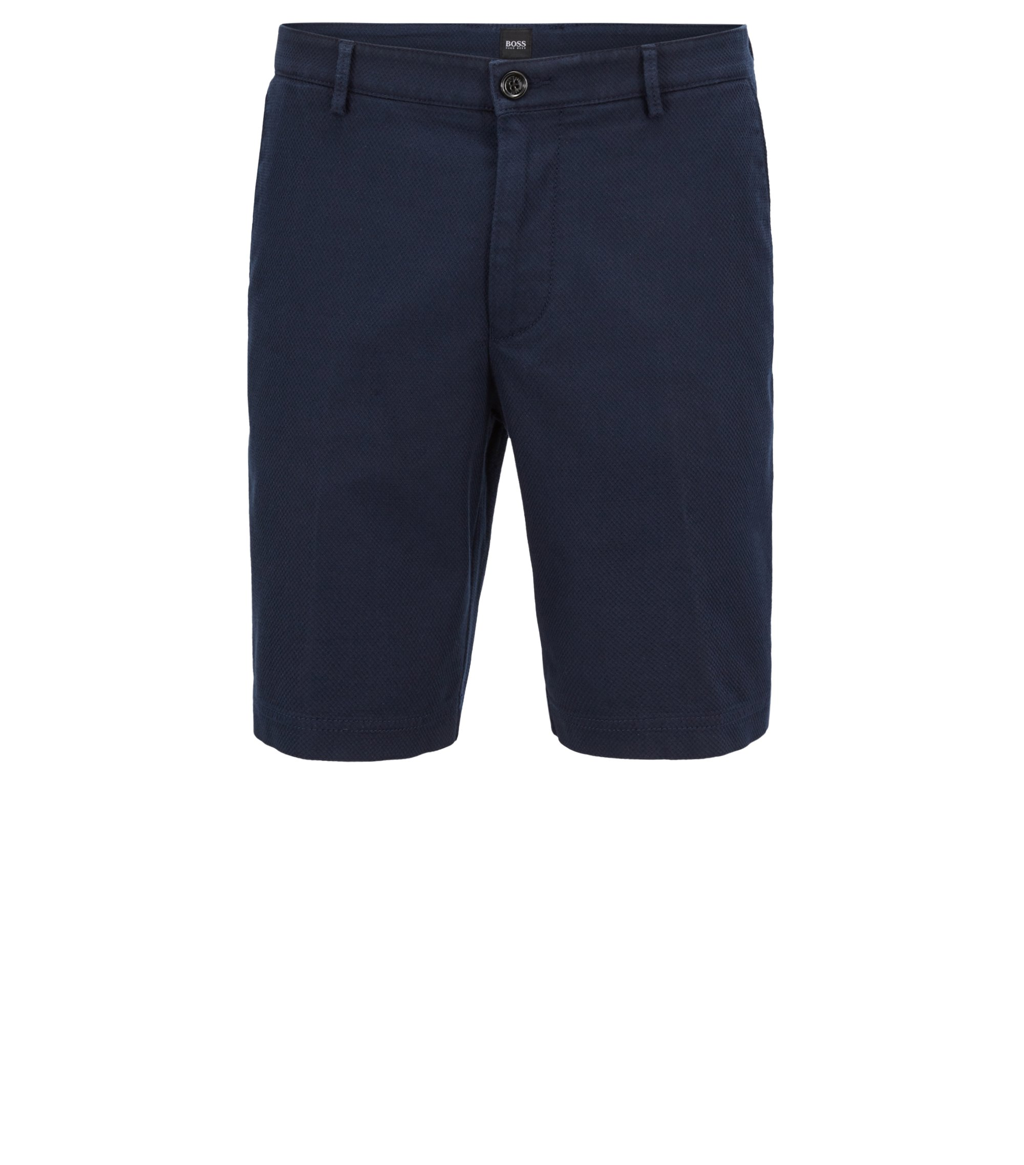 Short Regular Fit en coton stretch structuré, Bleu foncé