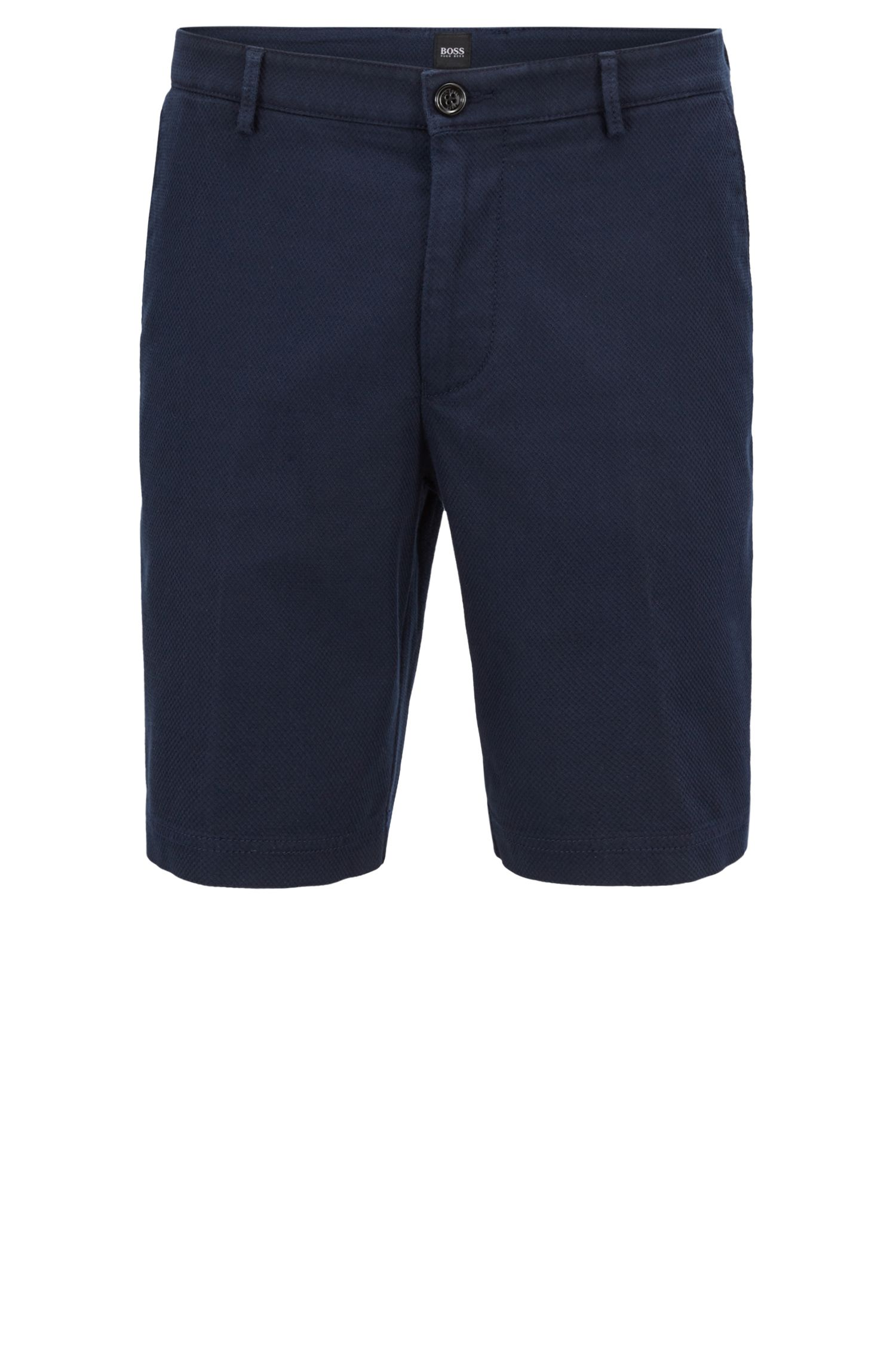 Regular-Fit Shorts aus strukturierter Stretch-Baumwolle, Dunkelblau
