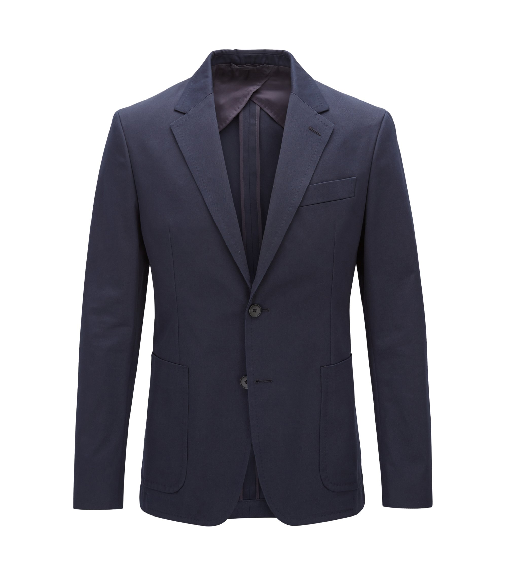 Blazer slim fit in puro cotone con tasche applicate, Blu