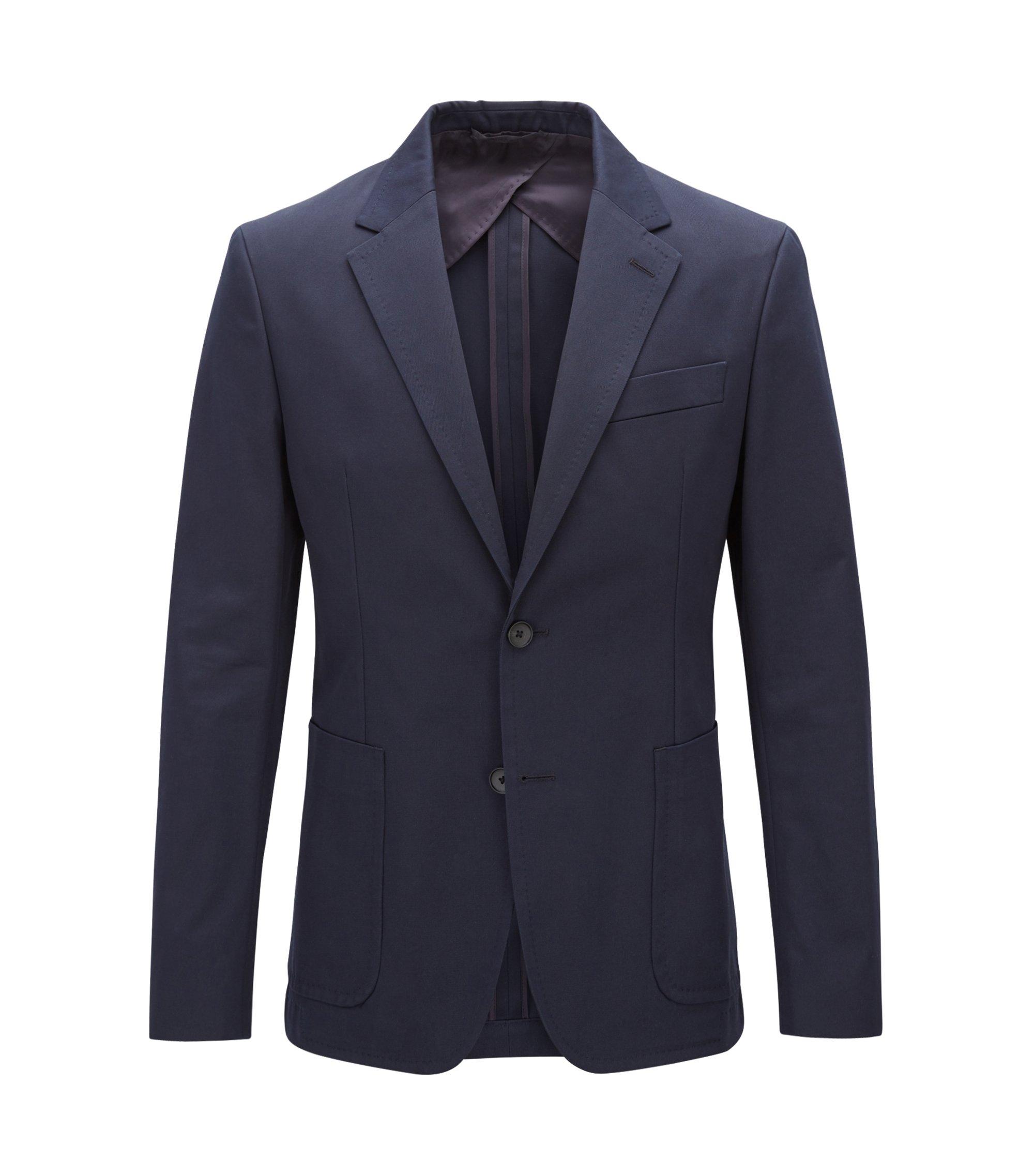 Blazer Slim Fit en pur coton à poches plaquées, Bleu