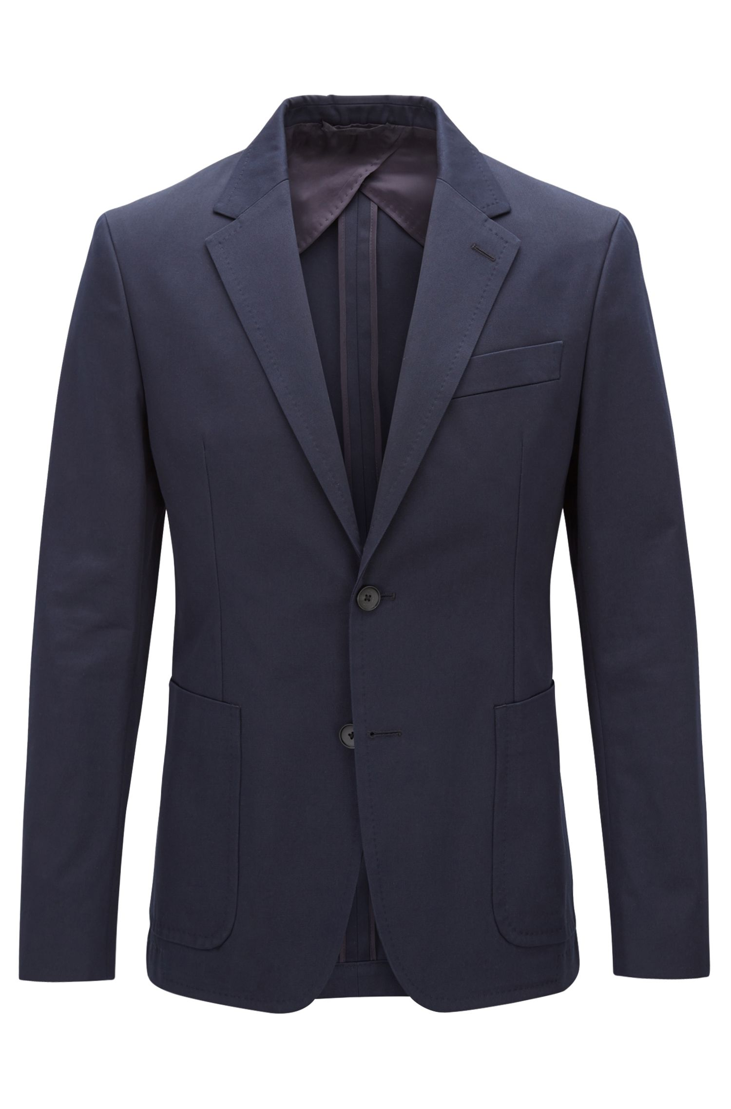 Blazer slim fit in puro cotone con tasche applicate